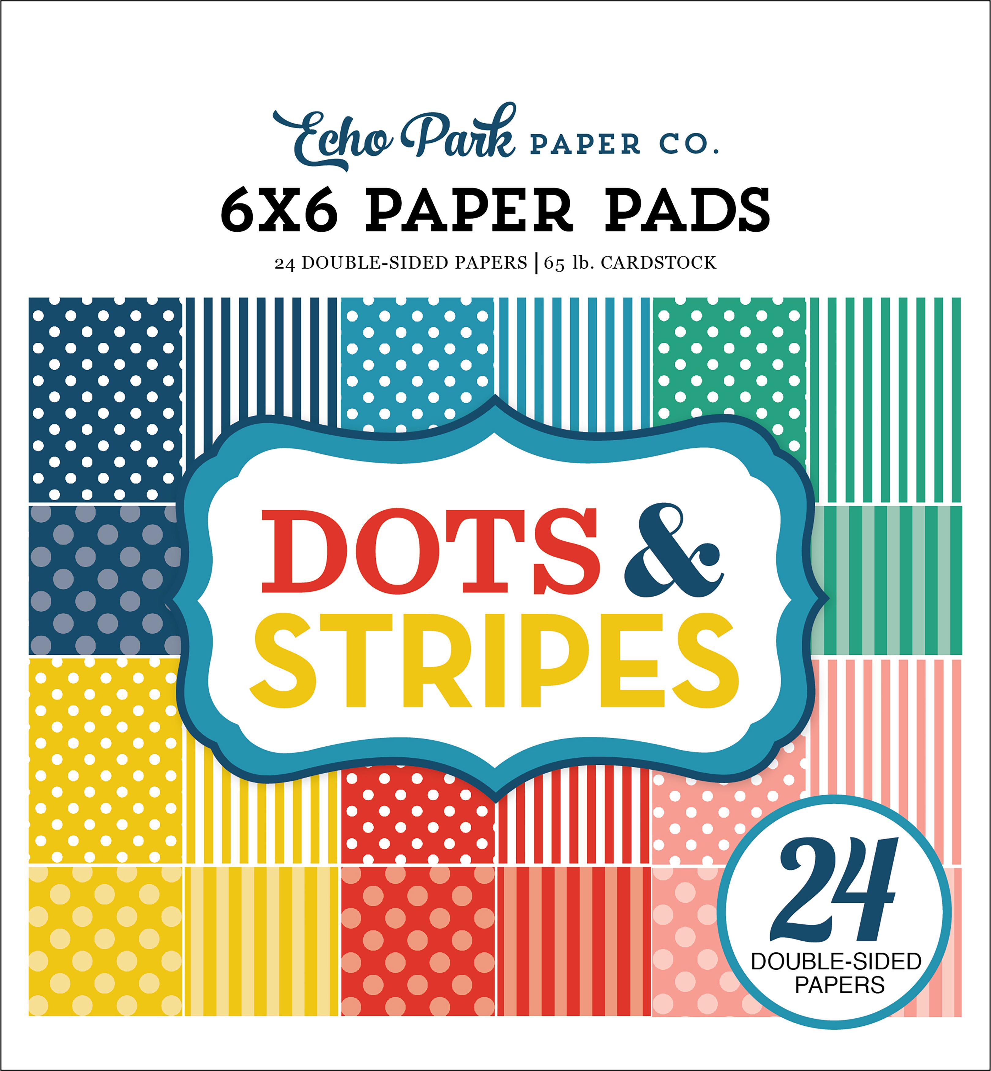 Echo Park Double-Sided Paper Pad 6X6 24/Pkg-Summer Dots/Stripes, 12 Designs/2 ...