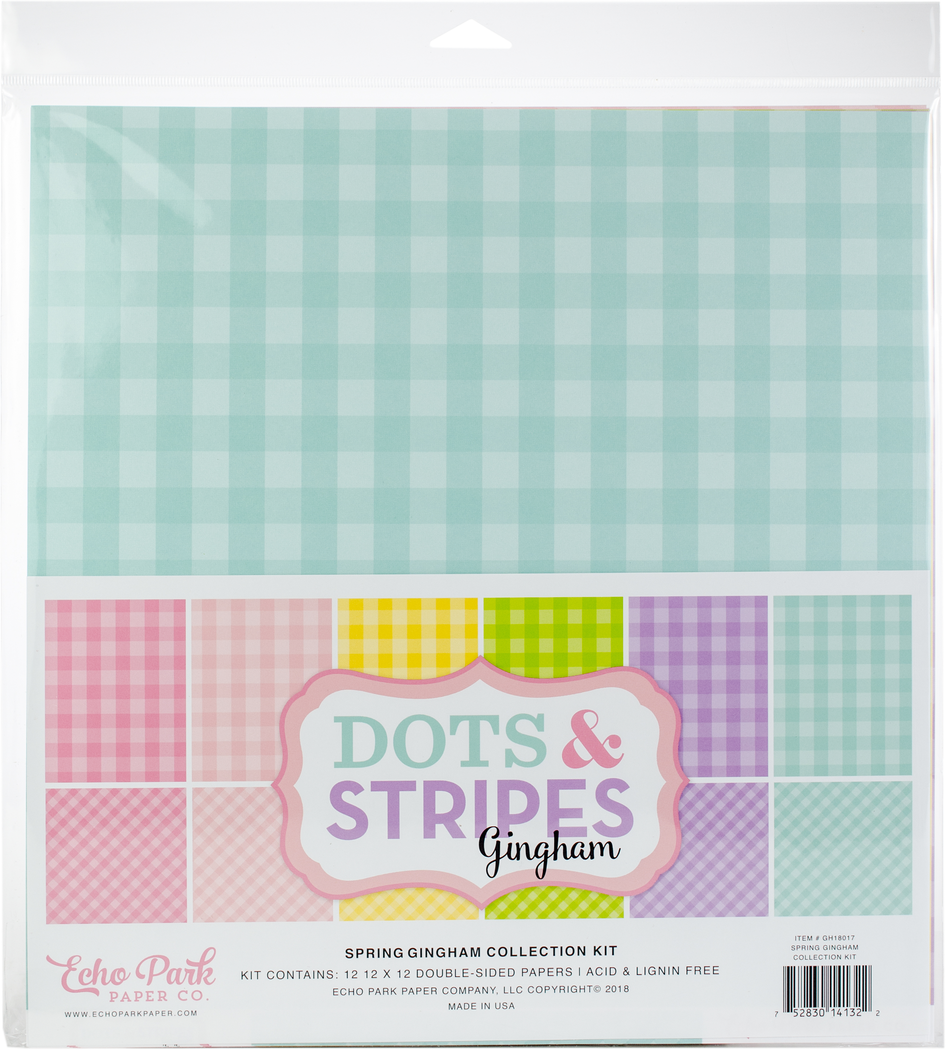Echo Park Double-Sided Collection Pack 12X12 12/Pkg-Spring Gingham/Dots, 6 Col...