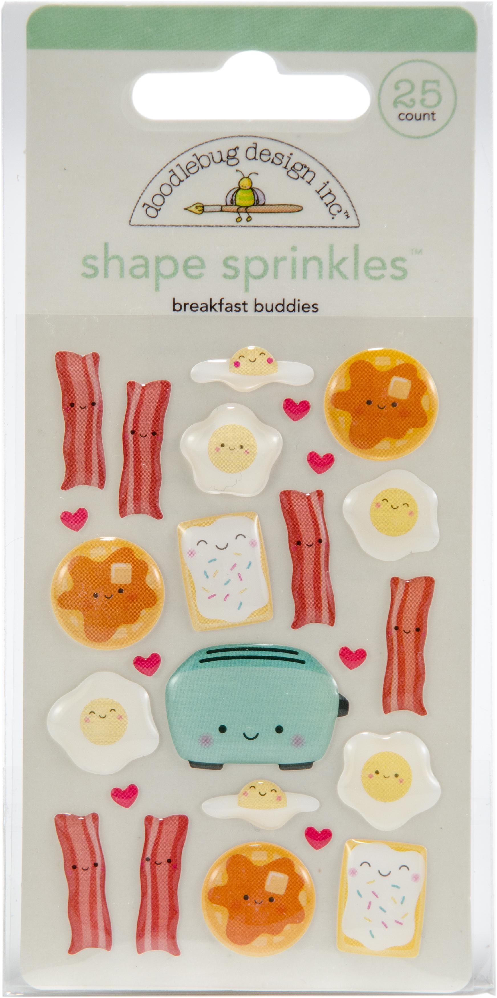 Doodlebug Sprinkles Adhesive Glossy Enamel Shapes  -Breakfast Buddies, 25/Pkg