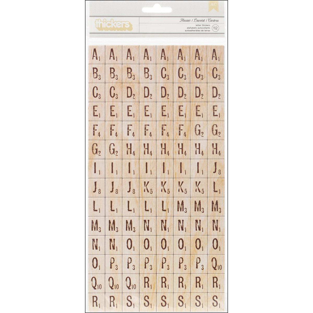 American Crafts Chipboard Alphabet Stickers-Mosaic-Natural Wood 224/Pkg