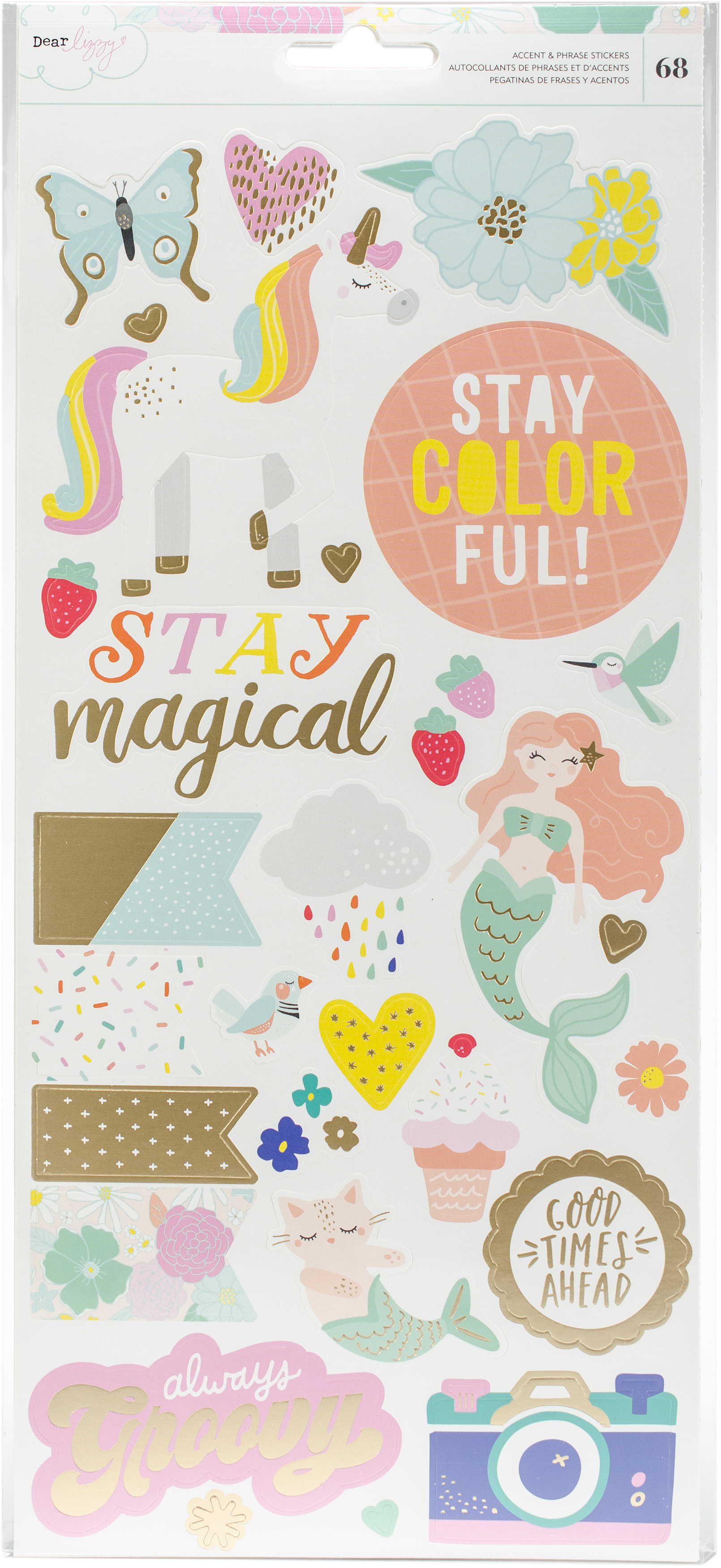 ^Dear Lizzy Stay Colorful 6x12 Cardstock Stickers - Accents & Phrases