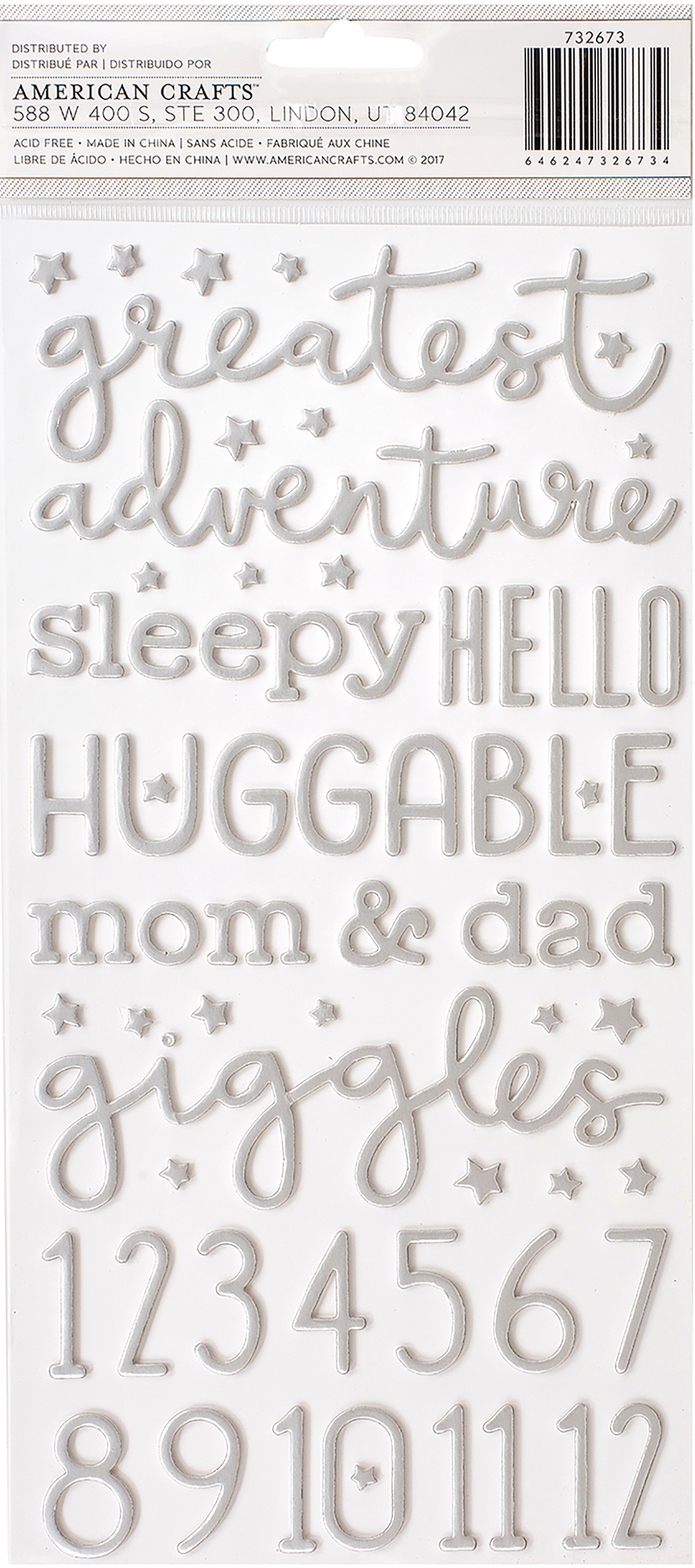 Thickers - Night Night Baby Boy Foil Foam Word Stickers
