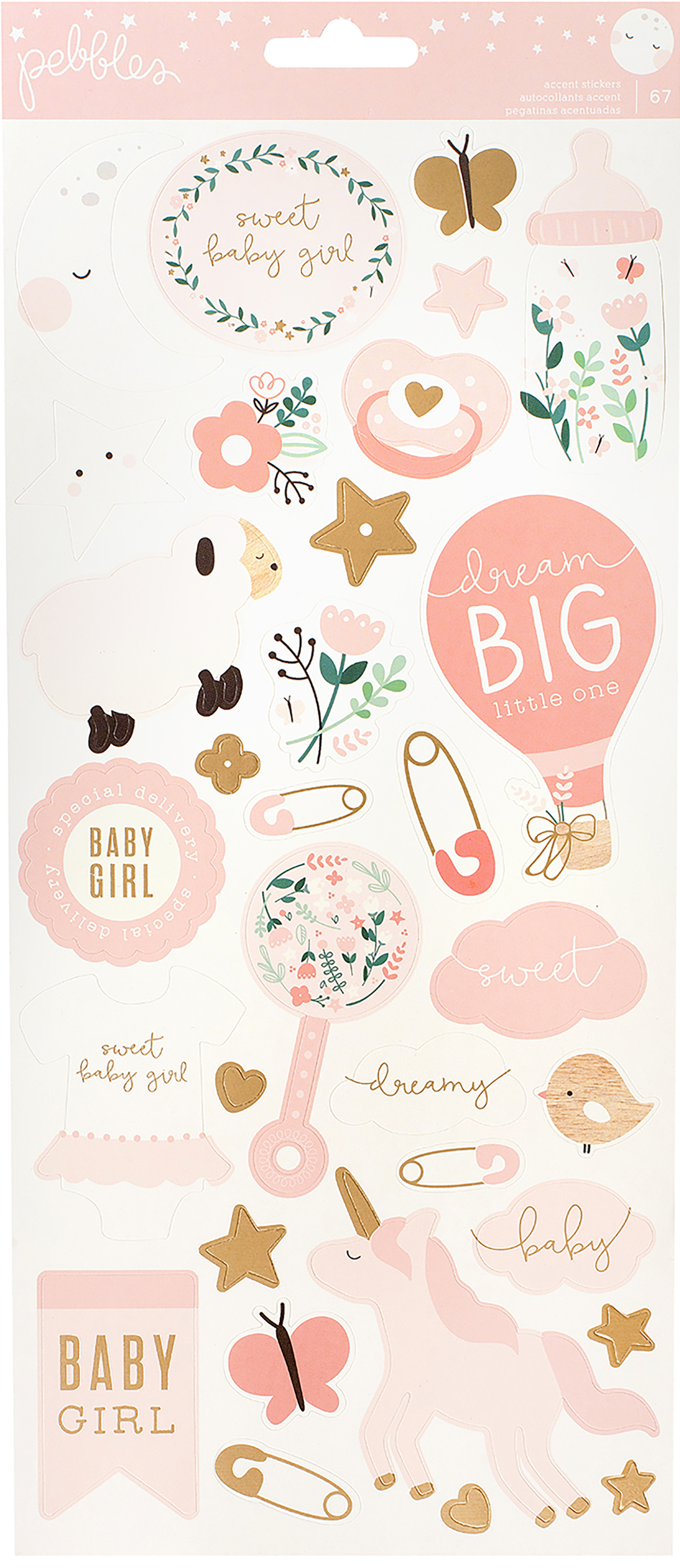 ^Pebbles Night Night Baby Girl - 6x12 Accent Stickers
