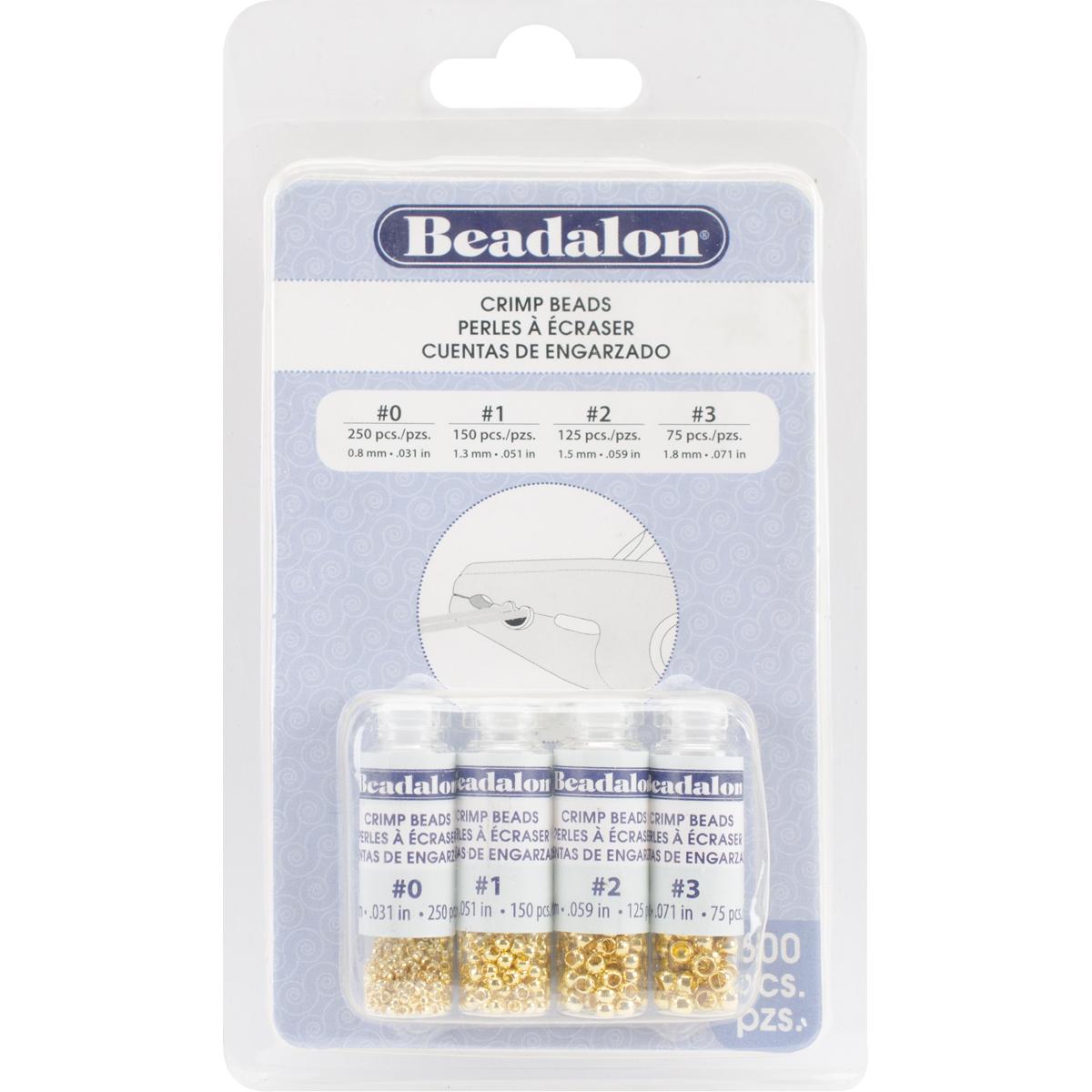 Beadalon Crimp Beads Gold Assorted #0,#1,#2,#3