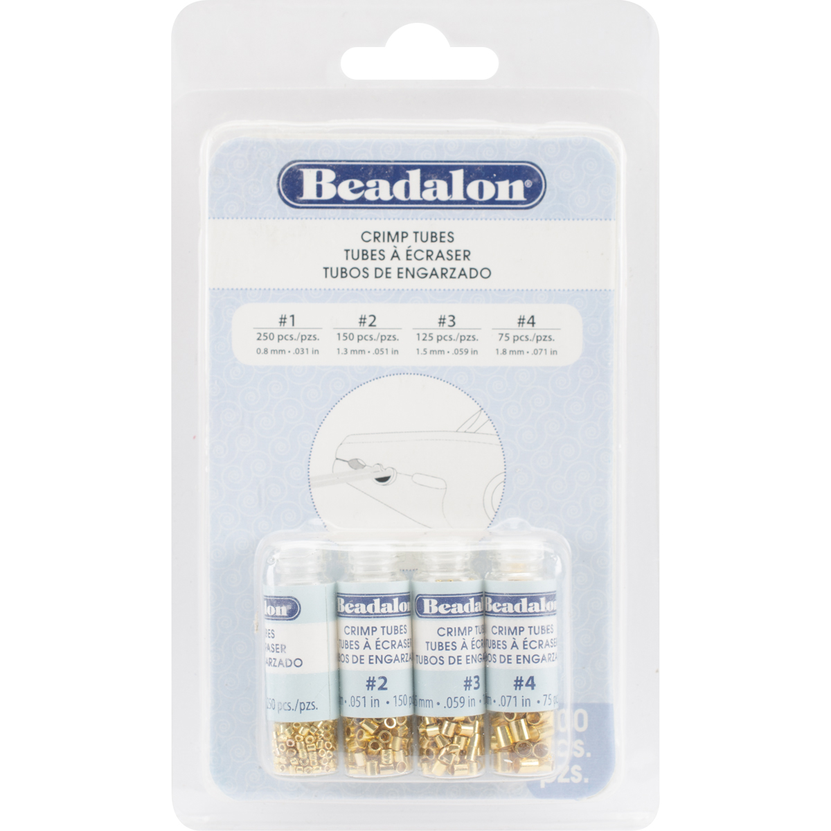 Beadalon Crimp Tubes Gold Assorted #1,#2,#3,#4