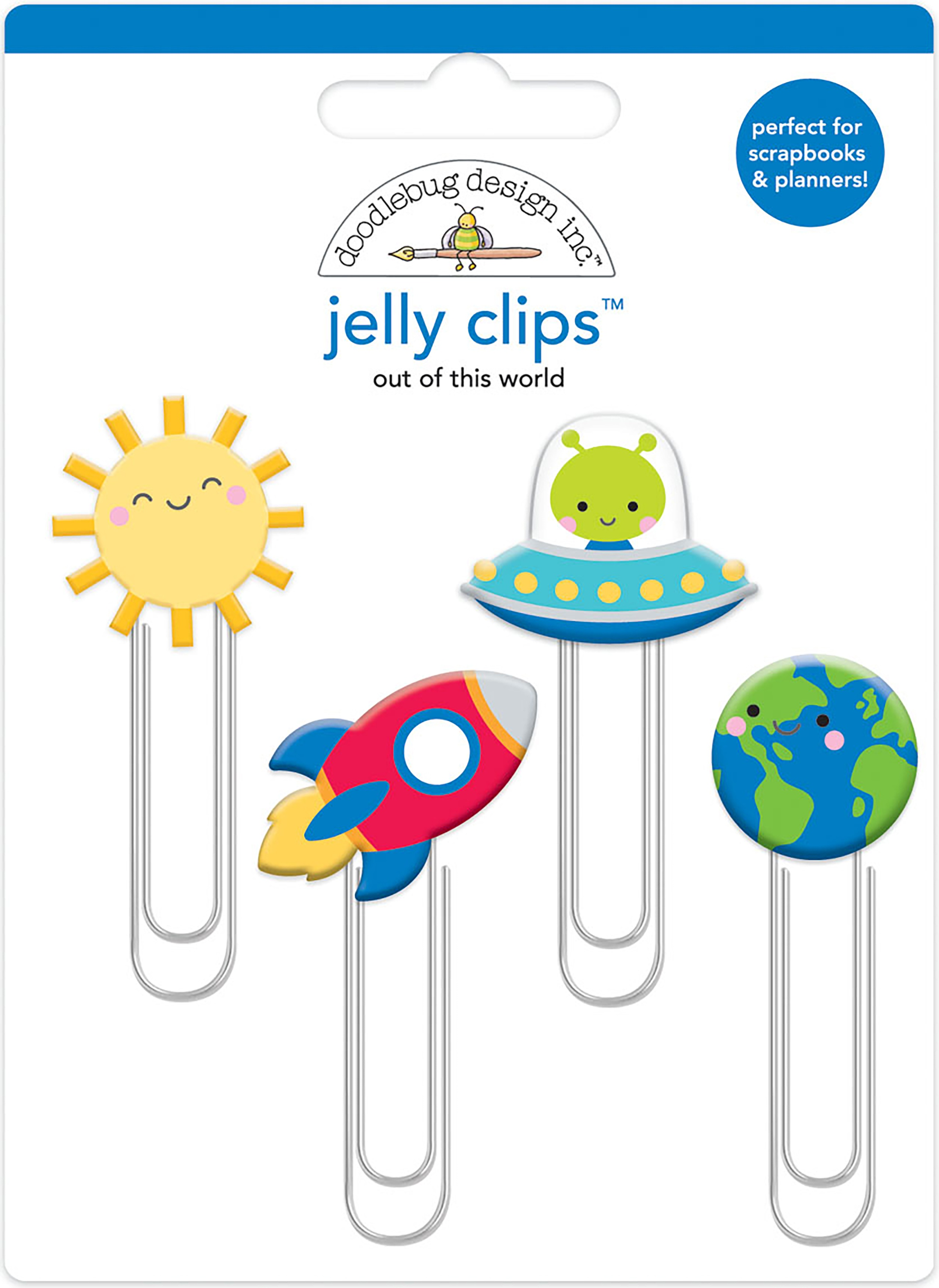 Doodlebug Jelly Clips 4/Pkg-Out Of This World