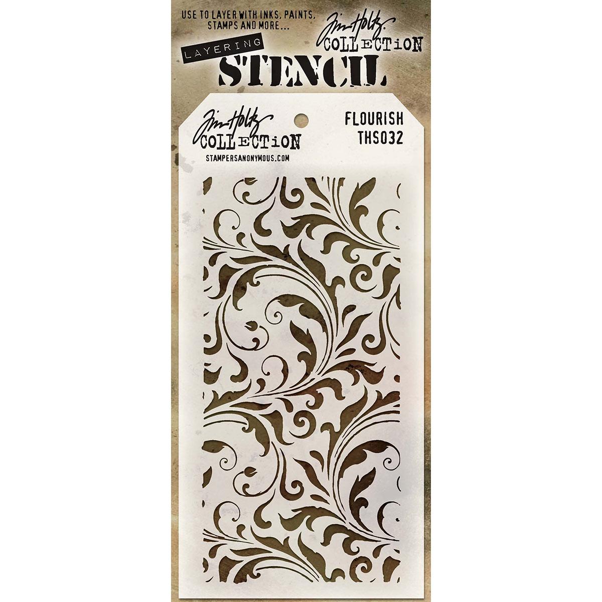 Stencil-Flourish-Tim Holtz