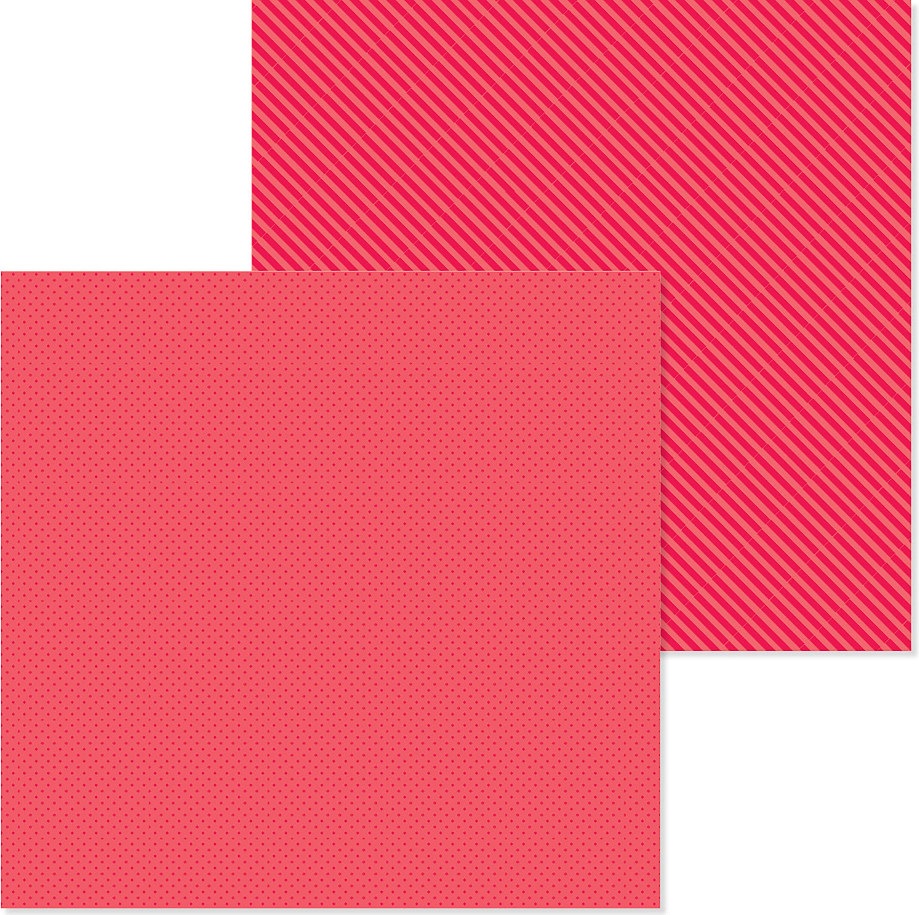 Doodlebug Petite Prints Dot/Stripe Cardstock 12X12-Ladybug