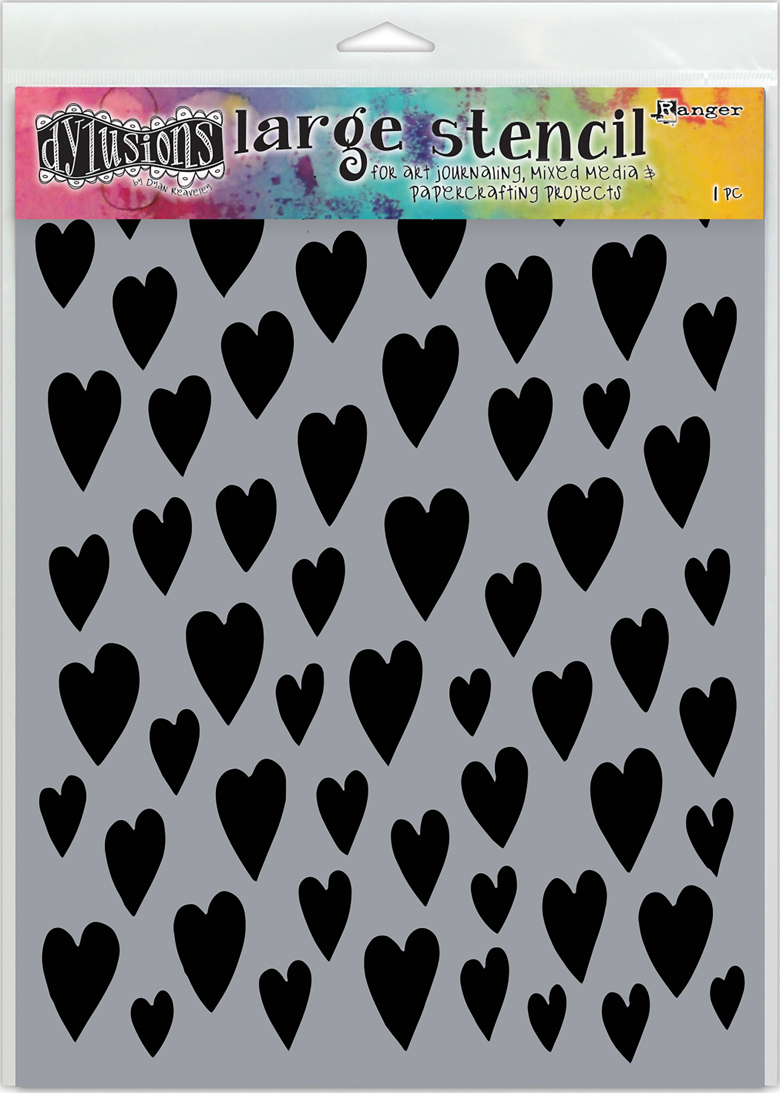 Dyan Reaveley's Dylusions Stencils 9X12-Love Hearts