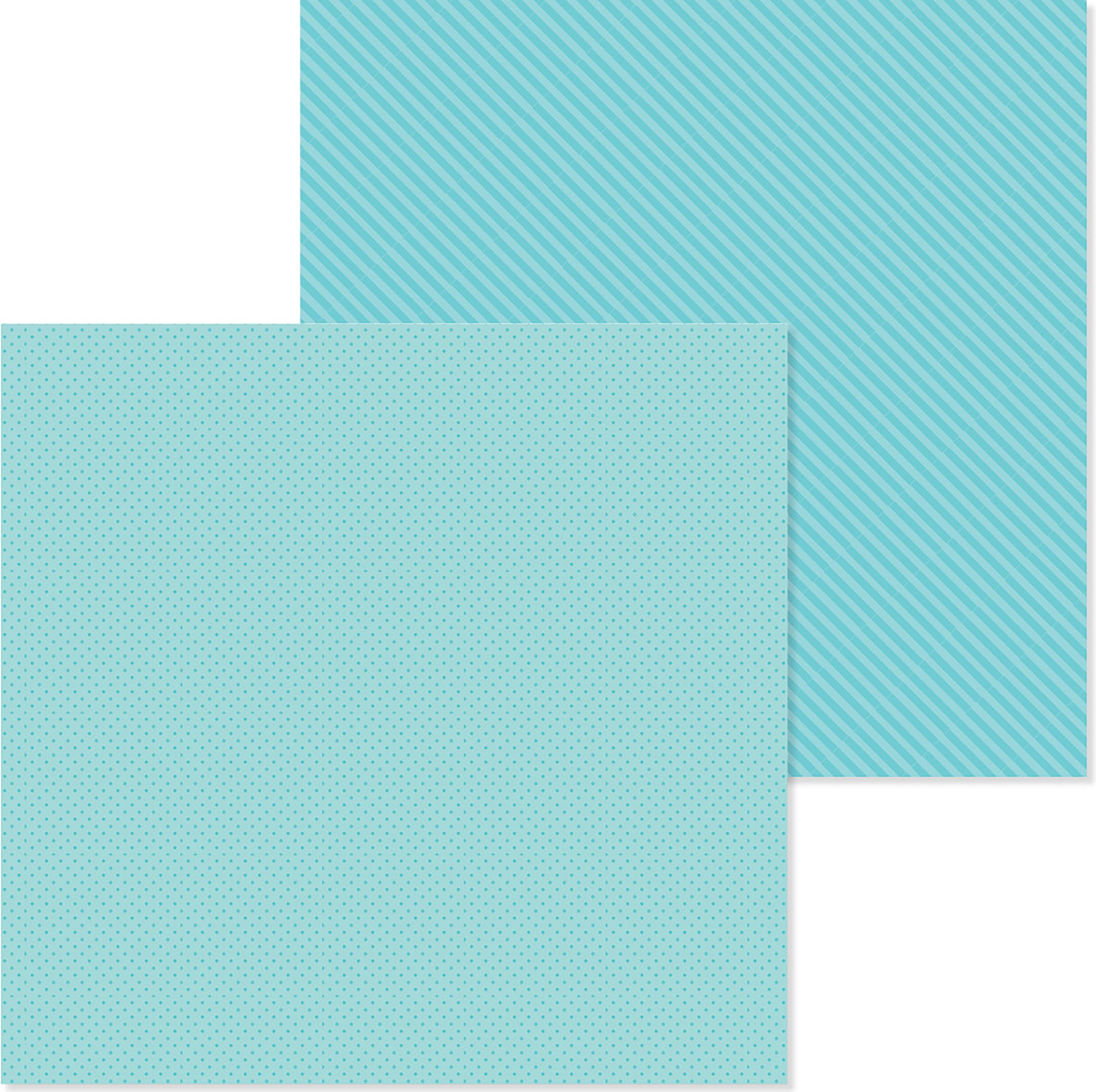 Doodlebug Petite Prints Dot/Stripe Cardstock 12X12-Swimming Pool