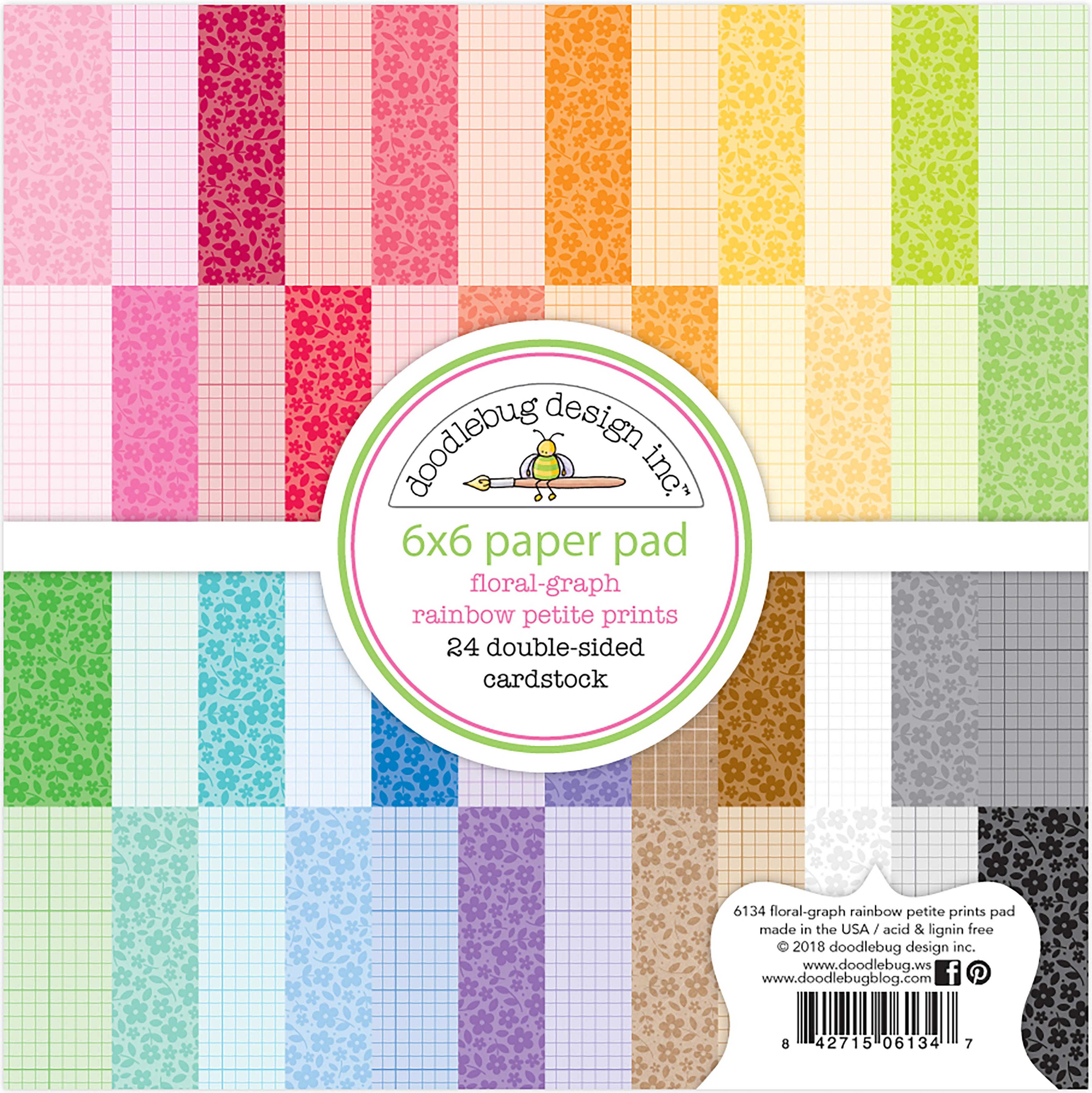 Doodlebug Petite Prints Double-Sided Paper Pad 6X6 24/Pkg-Floral-Graph Rainbow...