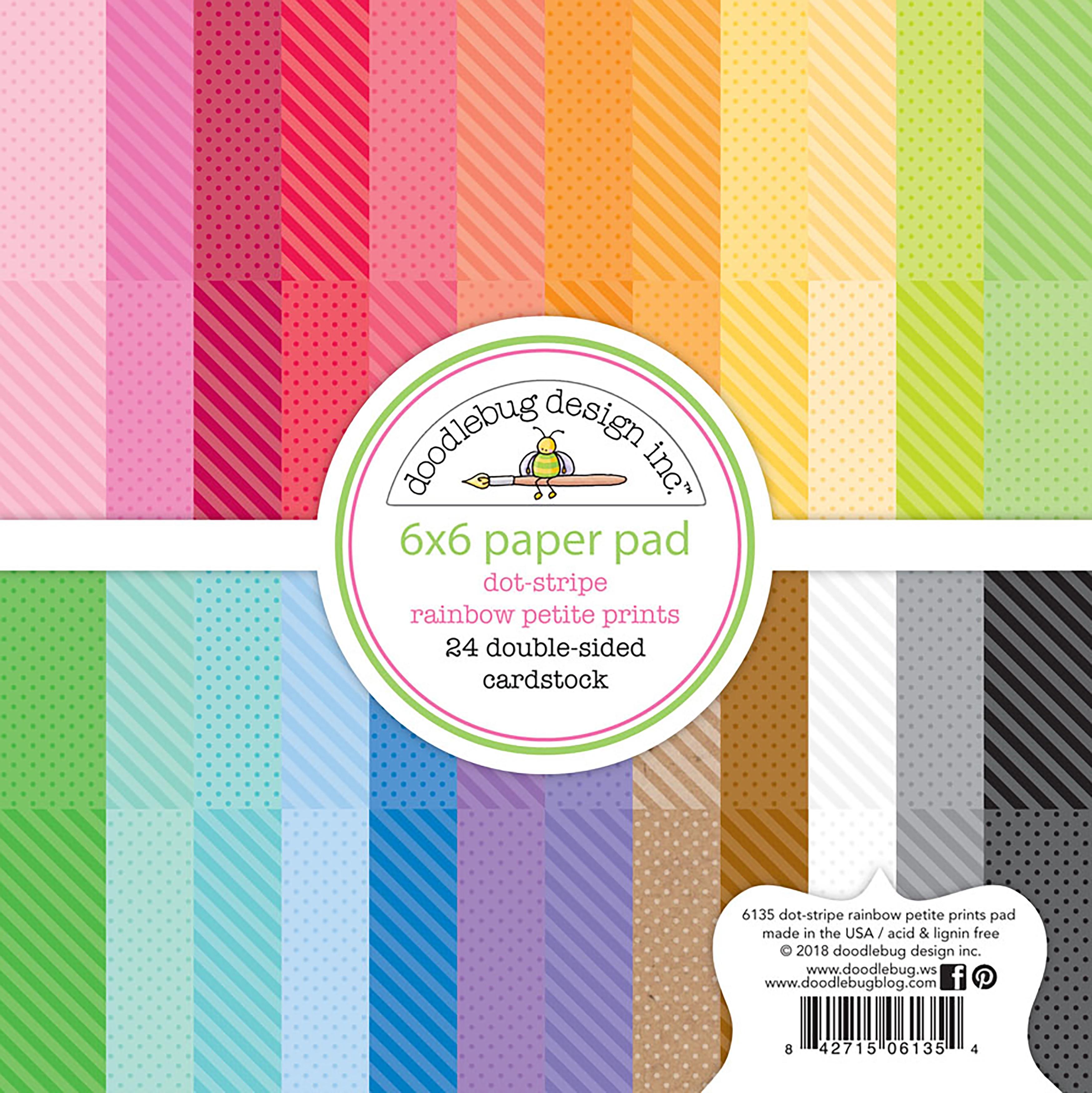Doodlebug Petite Prints Dot/Stripe Pad 6X6 24/Pkg-