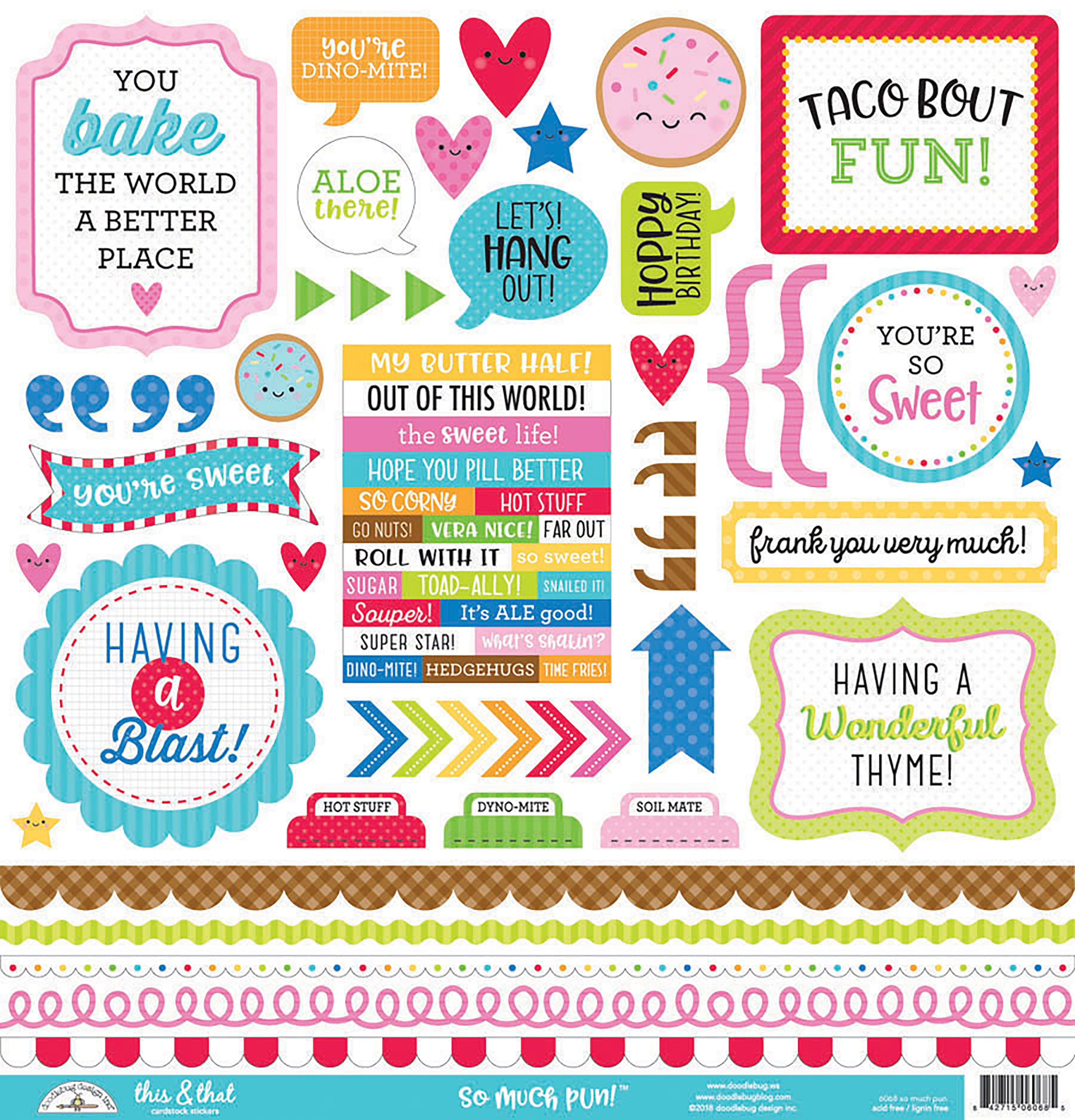 Stickers - So Much Pun 12x12 Cardstock Stickers (Doodlebug)