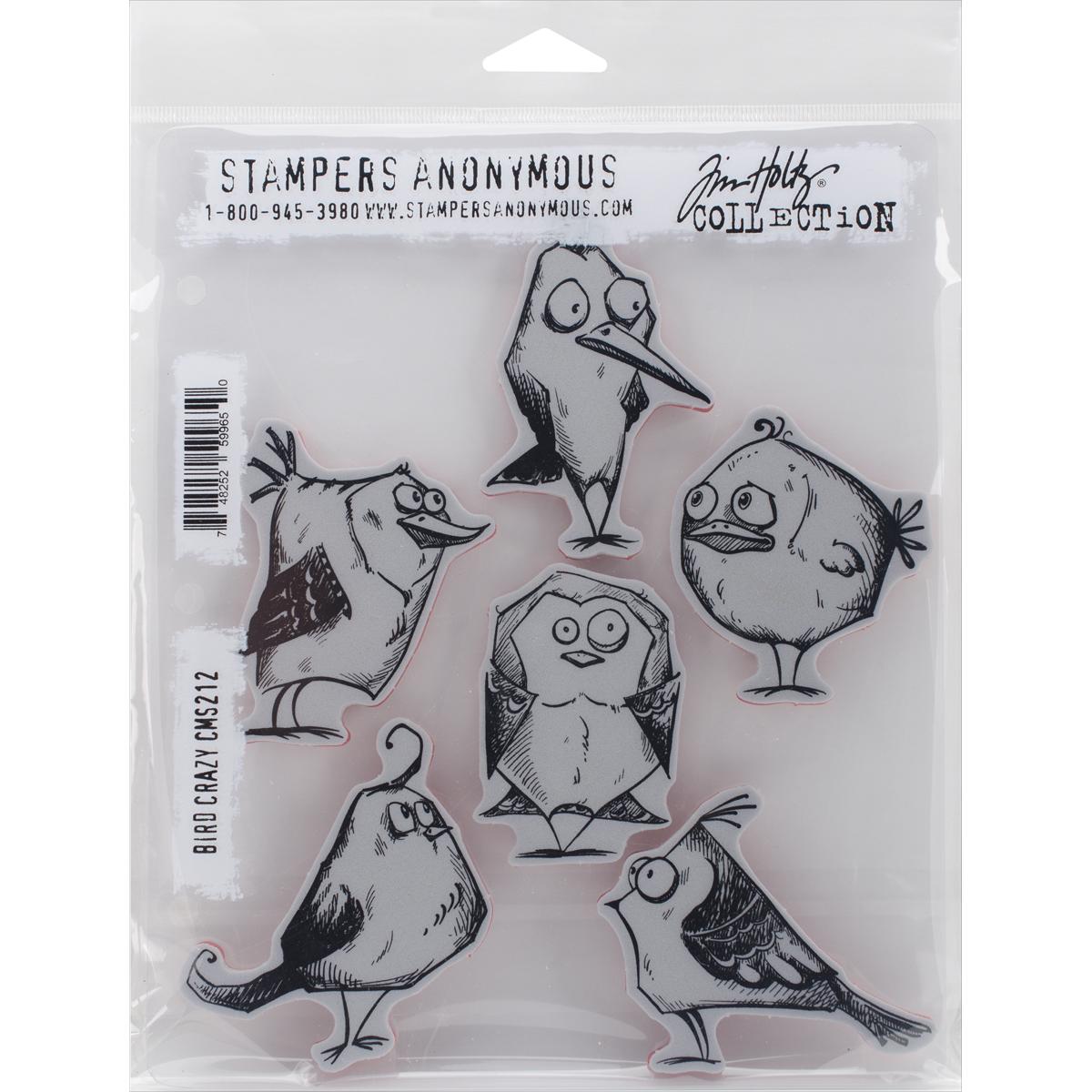 Tim Holtz Cling Stamps 7X8.5-Bird Crazy