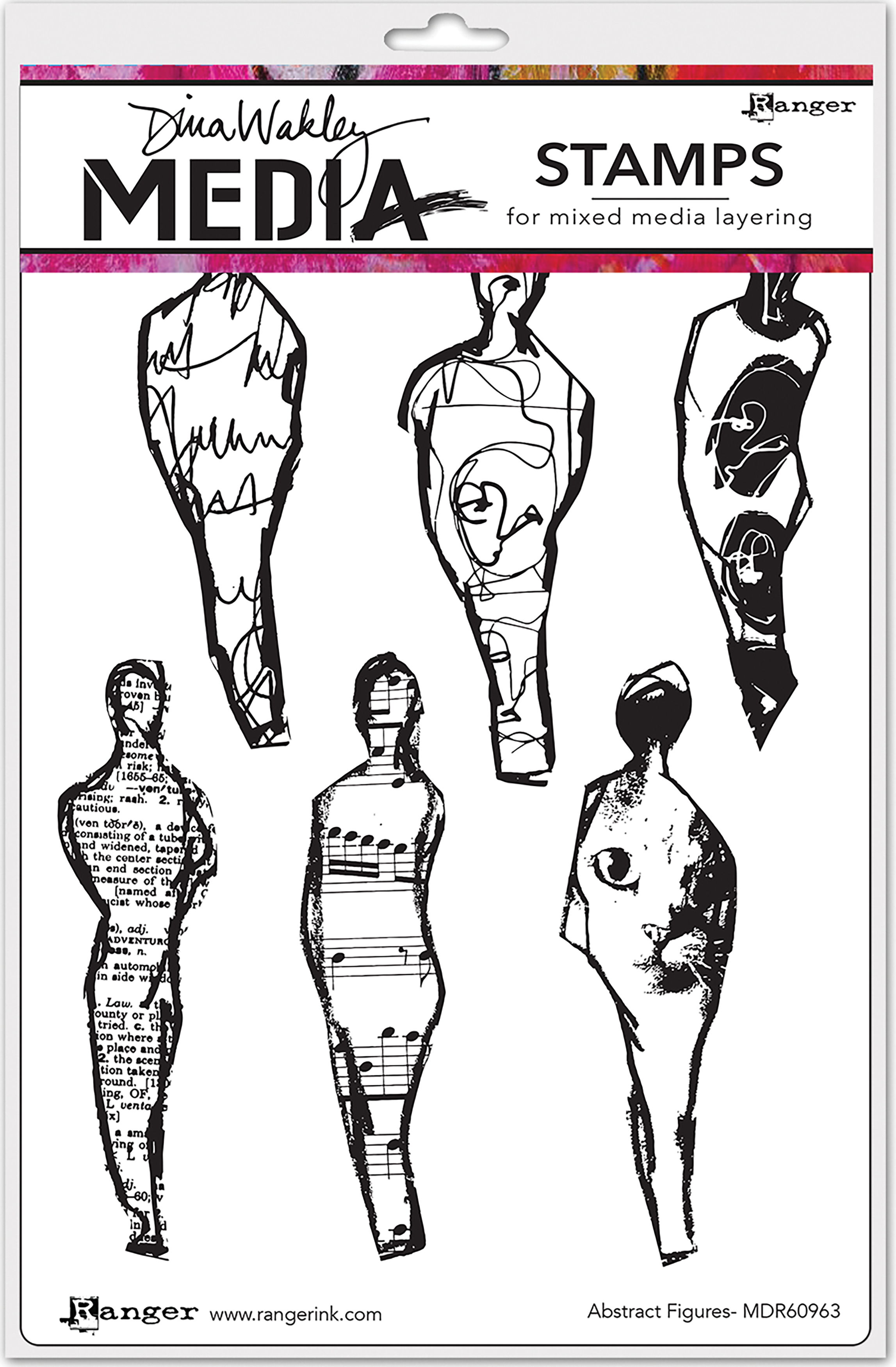 Dina Wakley Media Cling Stamps 6X9-Abstract Figures