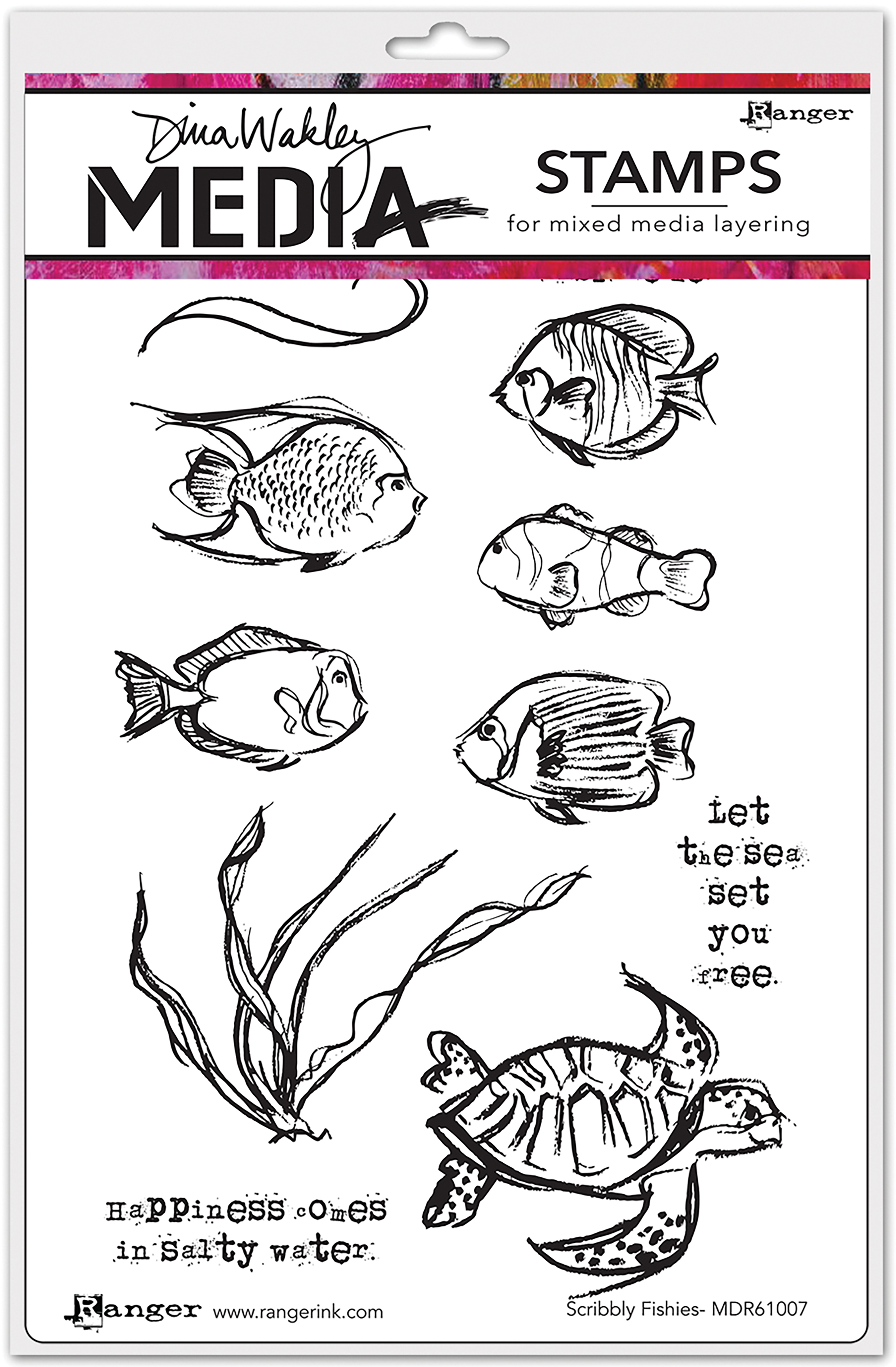 Dina Wakley Media Cling Stamps 6X9-Scribbly Fishes