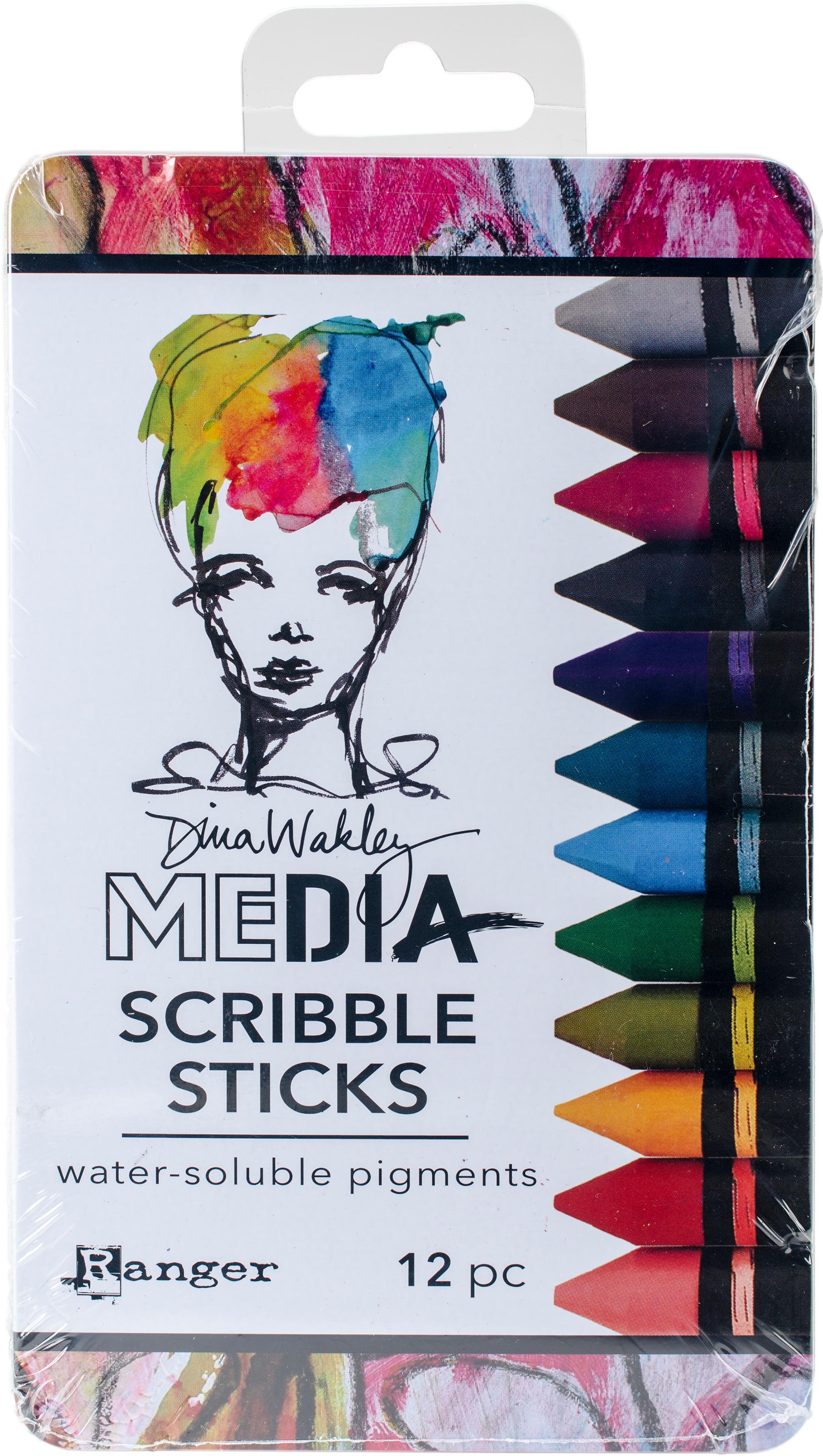 Dina Wakley Media Scribble Sticks 2 12/Pkg-