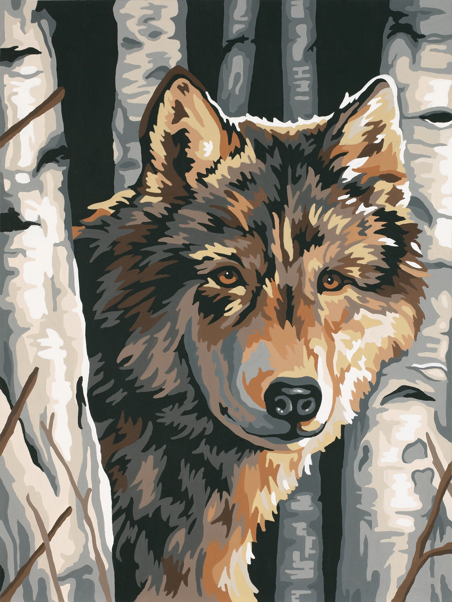 Paint Works Paint By Number Kit 9X12-Wolf Among Birches