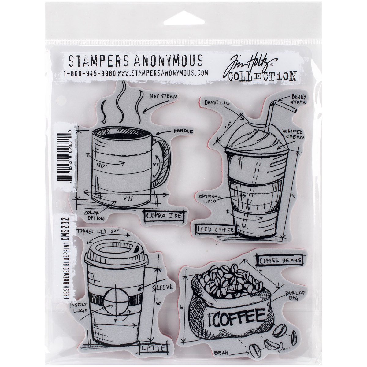 Tim Holtz Cling Stamps Fresh Brewed Blueprint