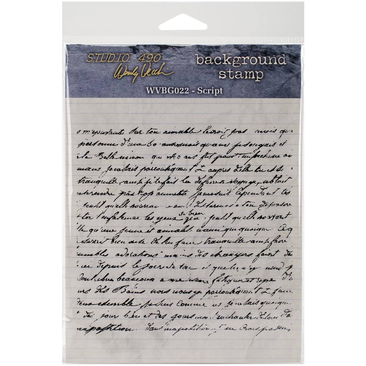 Studio 490 Wendy Vecchi Background Cling Stamp 5X5-Script