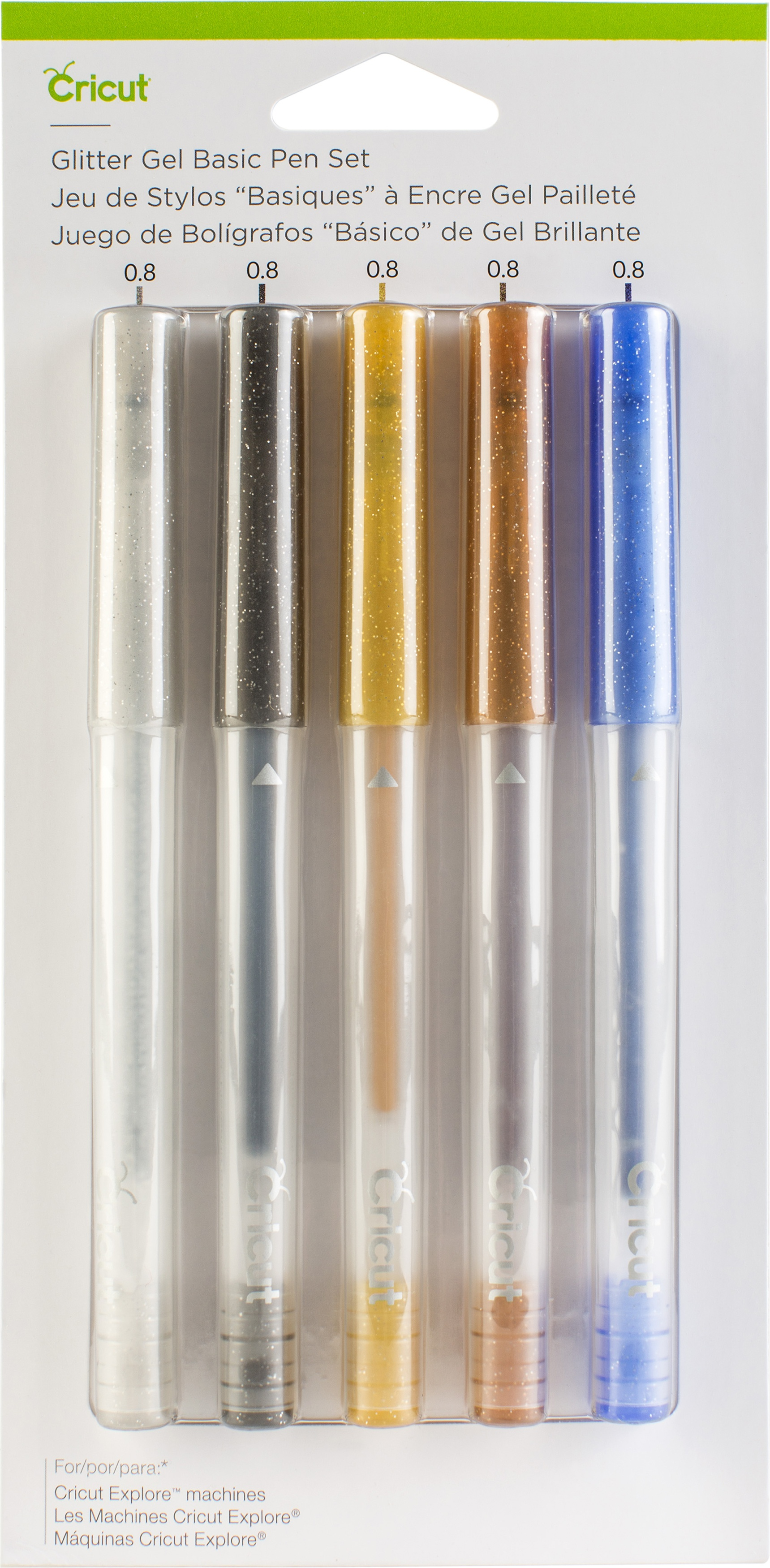 Cricut Glitter Gel Pen Set 5/Pkg-Basics