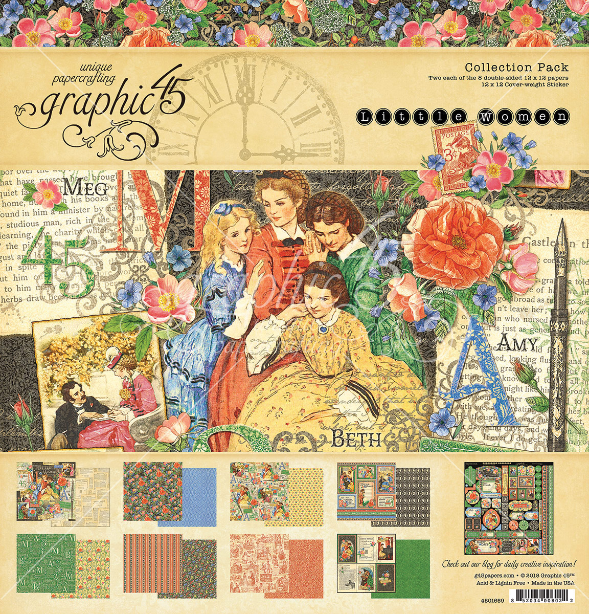 Graphic 45 Collection Pack 12X12-Little Women