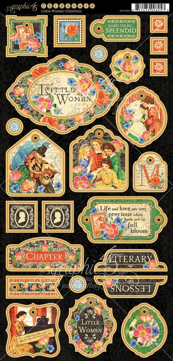 Little Women Chipboard Die-Cuts 6X12 Sheet-Decorative & Journaling