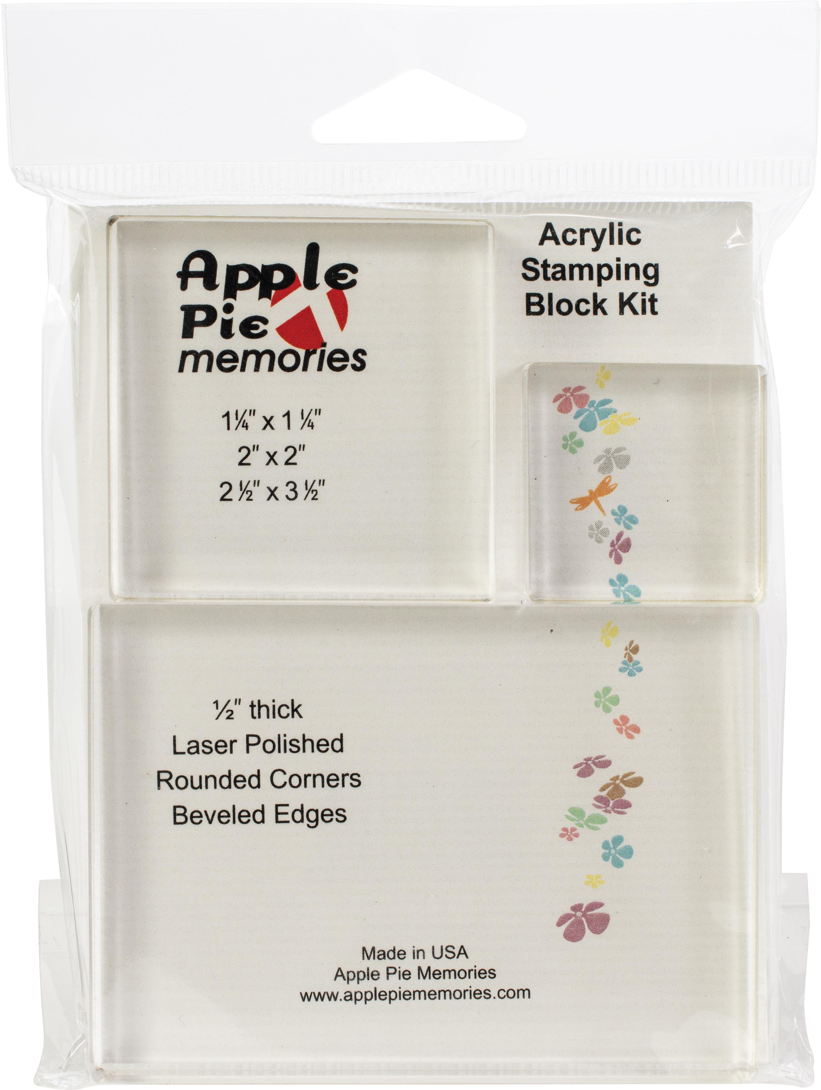 Apple Pie Memories Acrylic Stamp Blocks 3/Pkg - .5 Thick: 1.25X1.25, 2X2, 2.5X3.5