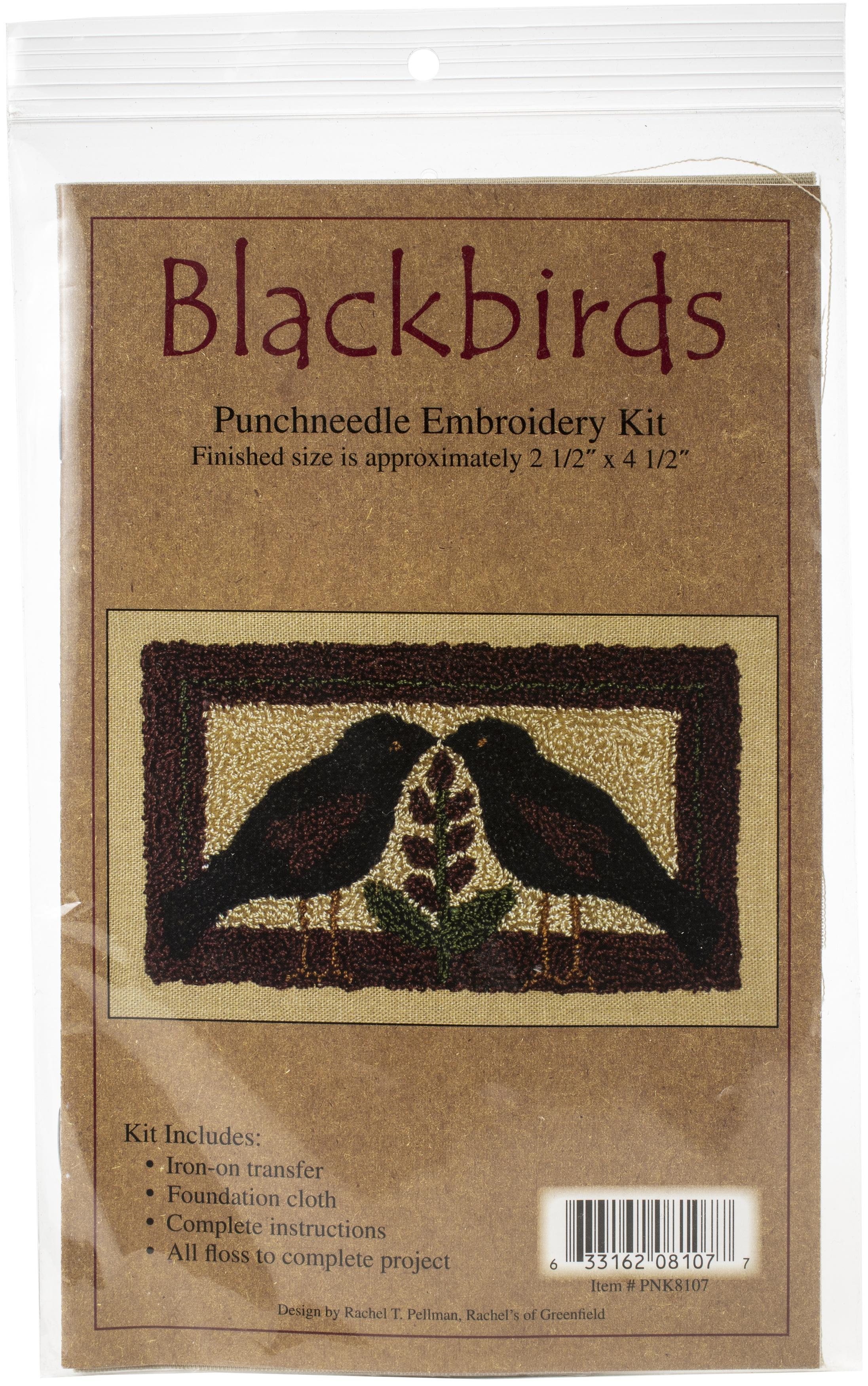 Blackbirds Punchneedle