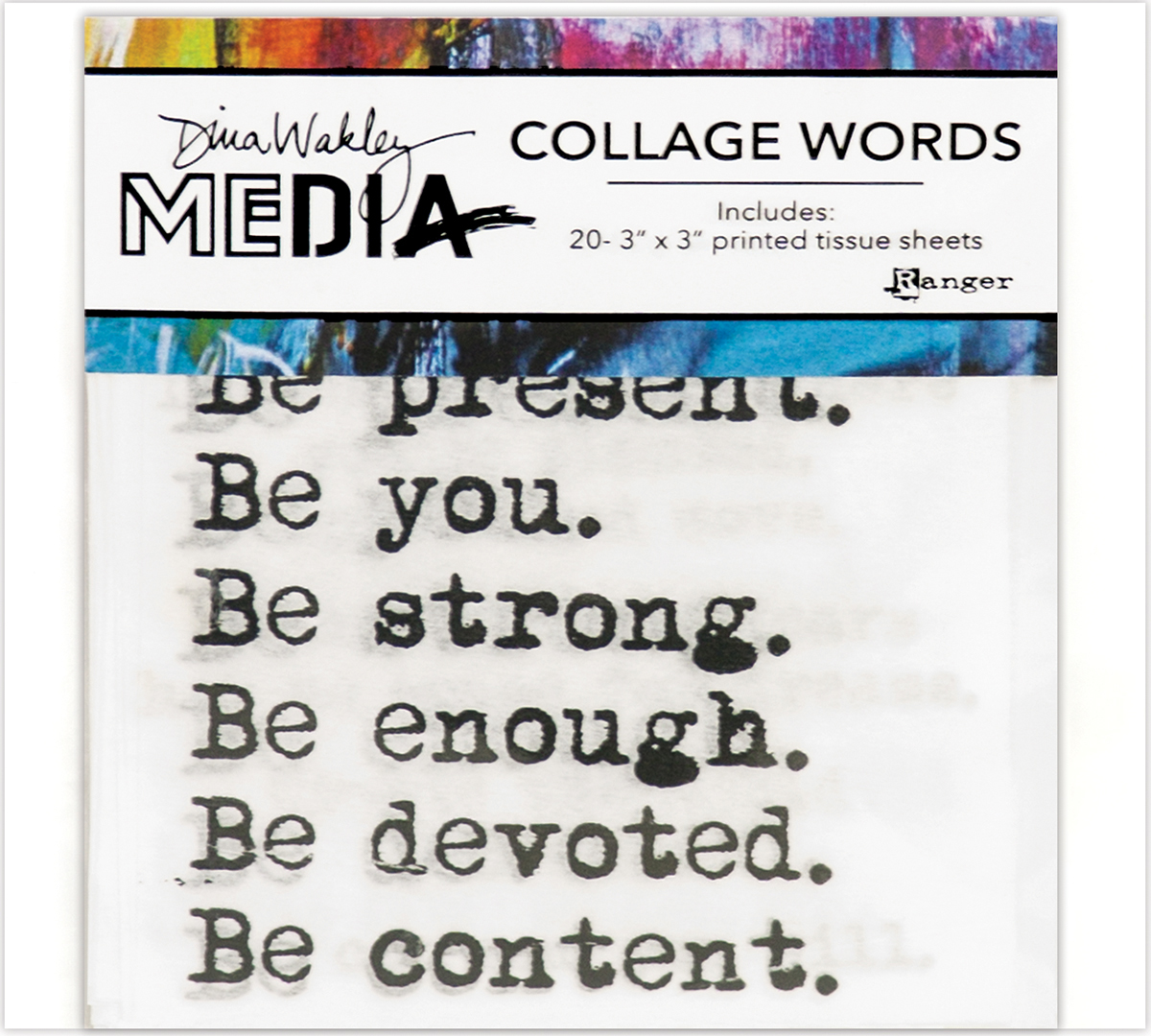 Dina Wakley Media Collage Word Pack 3X3 20/Pkg-#1