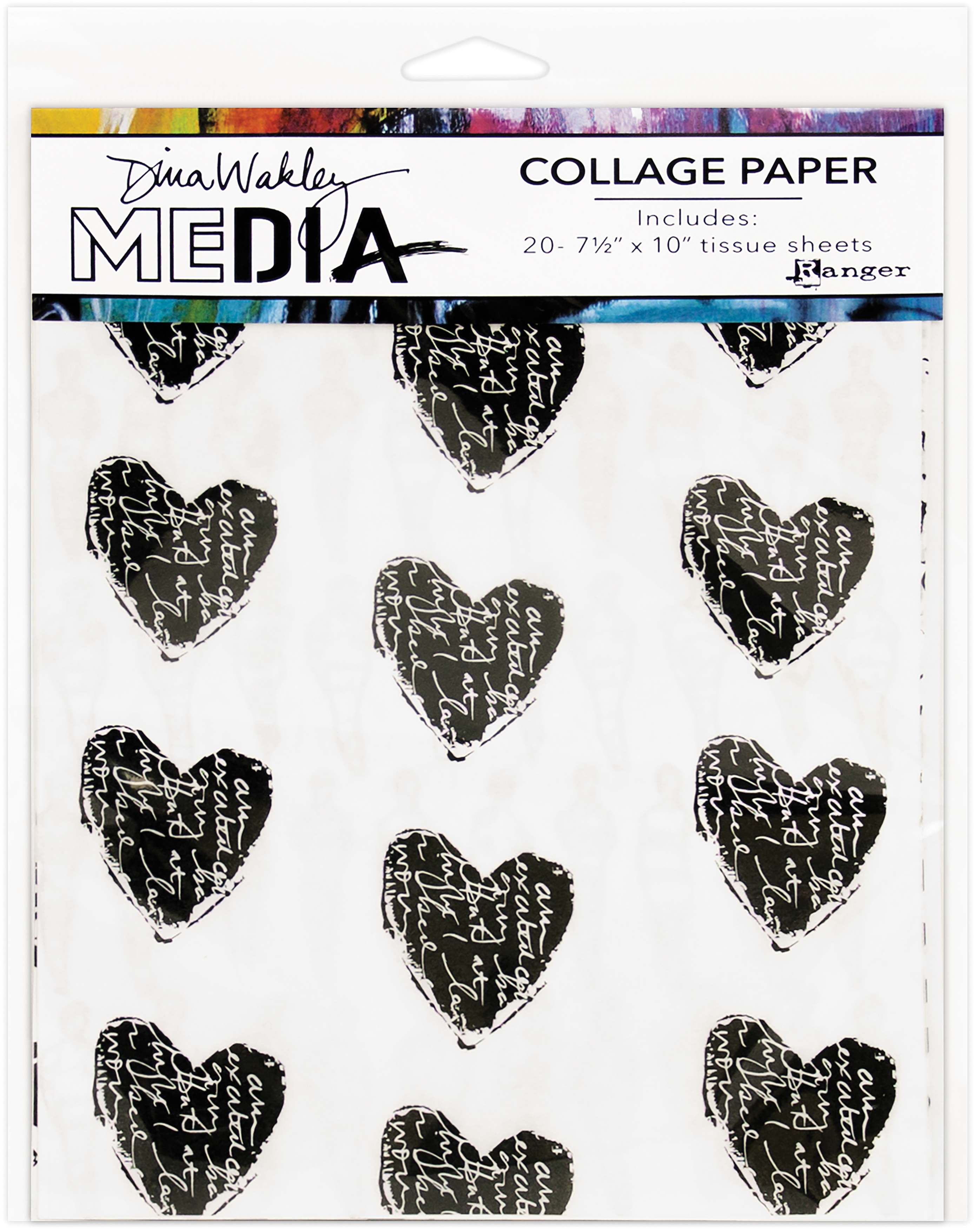 Dina Wakley Media Collage Tissue Paper  7.5X10 20/Pkg-10 Printed/10 Plain