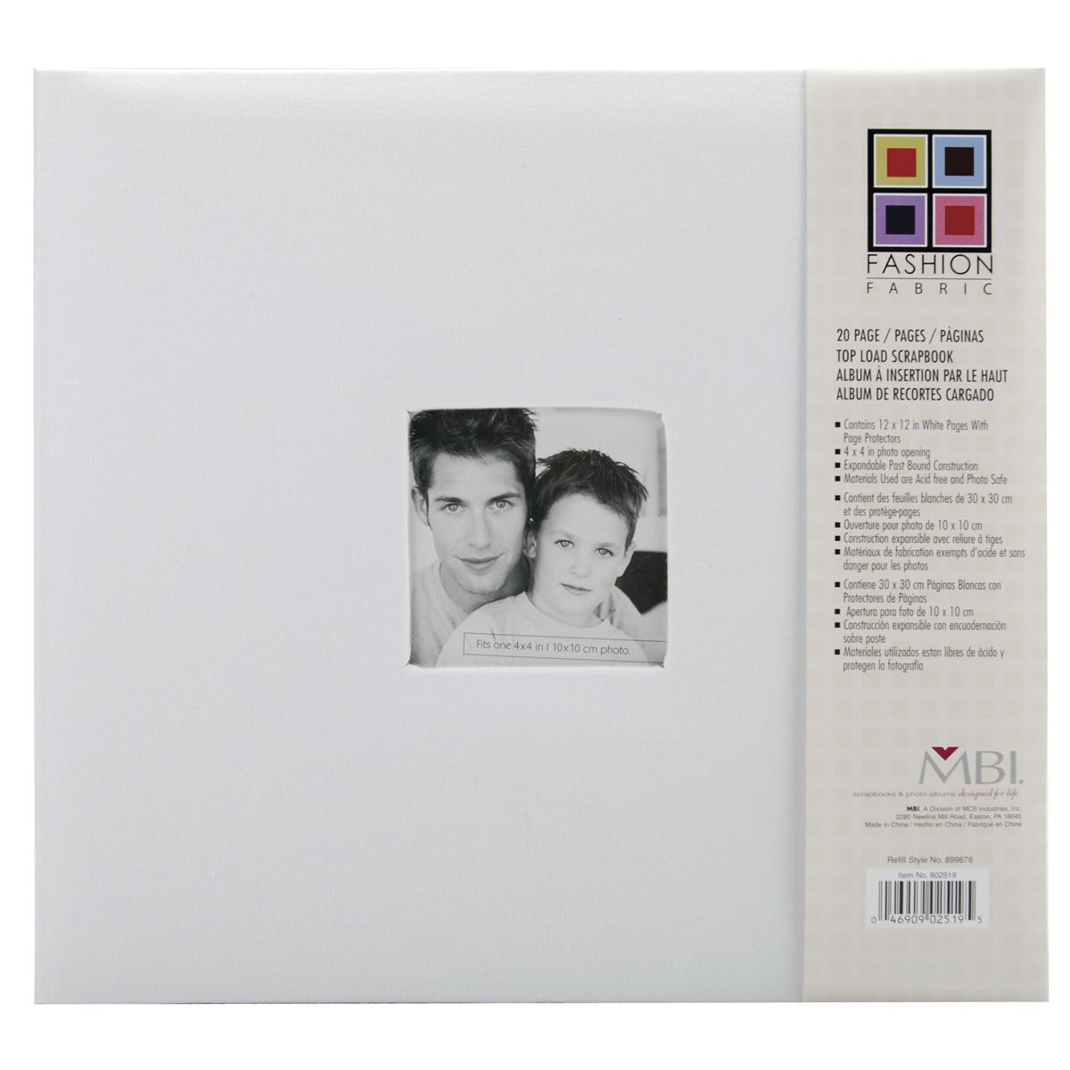 White Fashion Fabric Post Bound Album W/Window 12X12