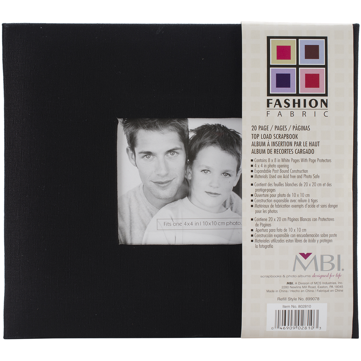 MBI Fashion Fabric Post Bound Album W/Window 8X8 - Black