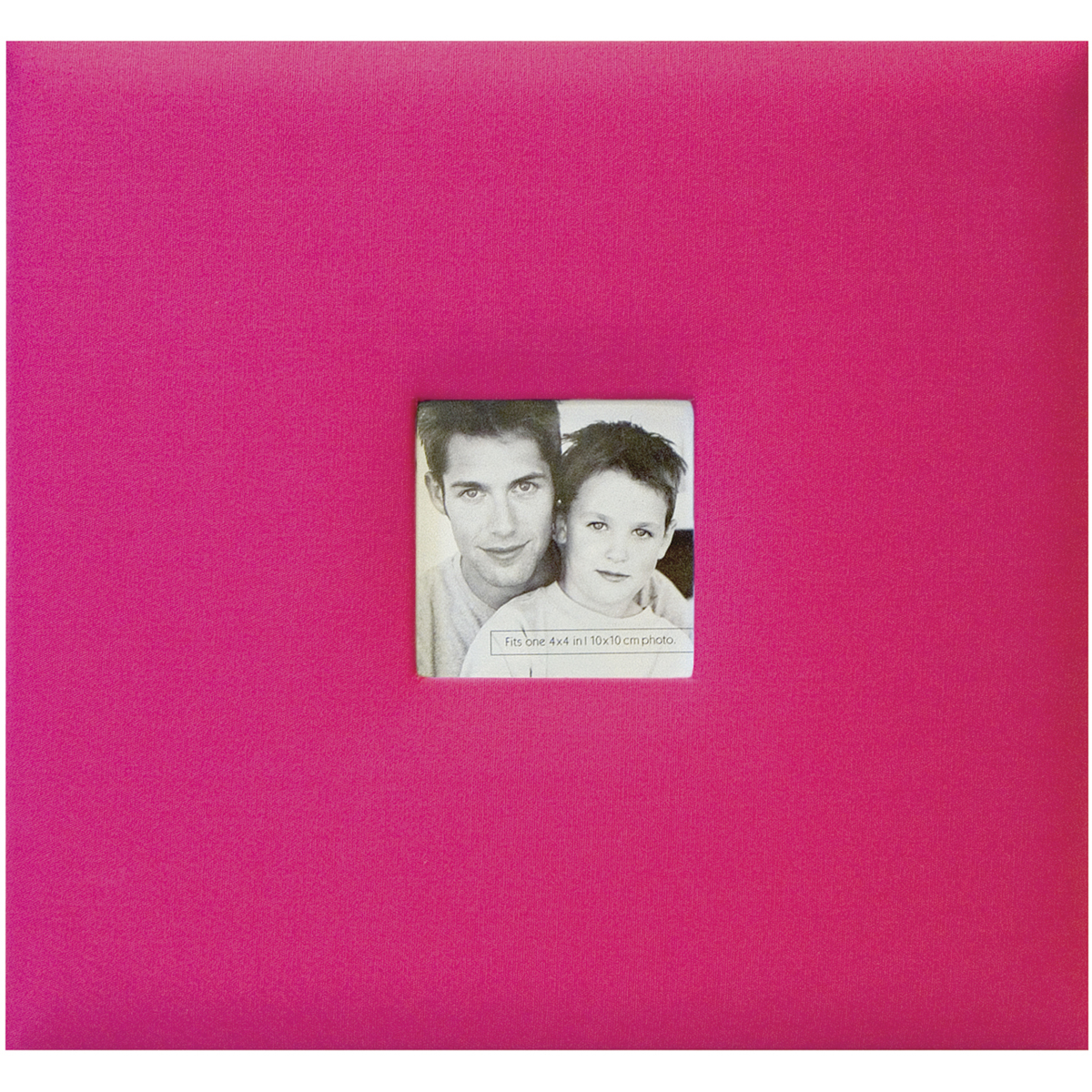 MBI Fashion Fabric Post Bound Album W/Window 8X8-Hot Pink