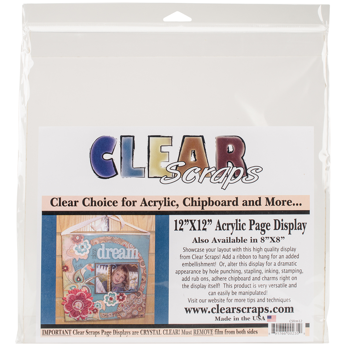 CLEAR SCRAPS FRME12 LIST = $12.99   CLEARANCE - NO FURTHER DISCOUNTS/NO RETURNS