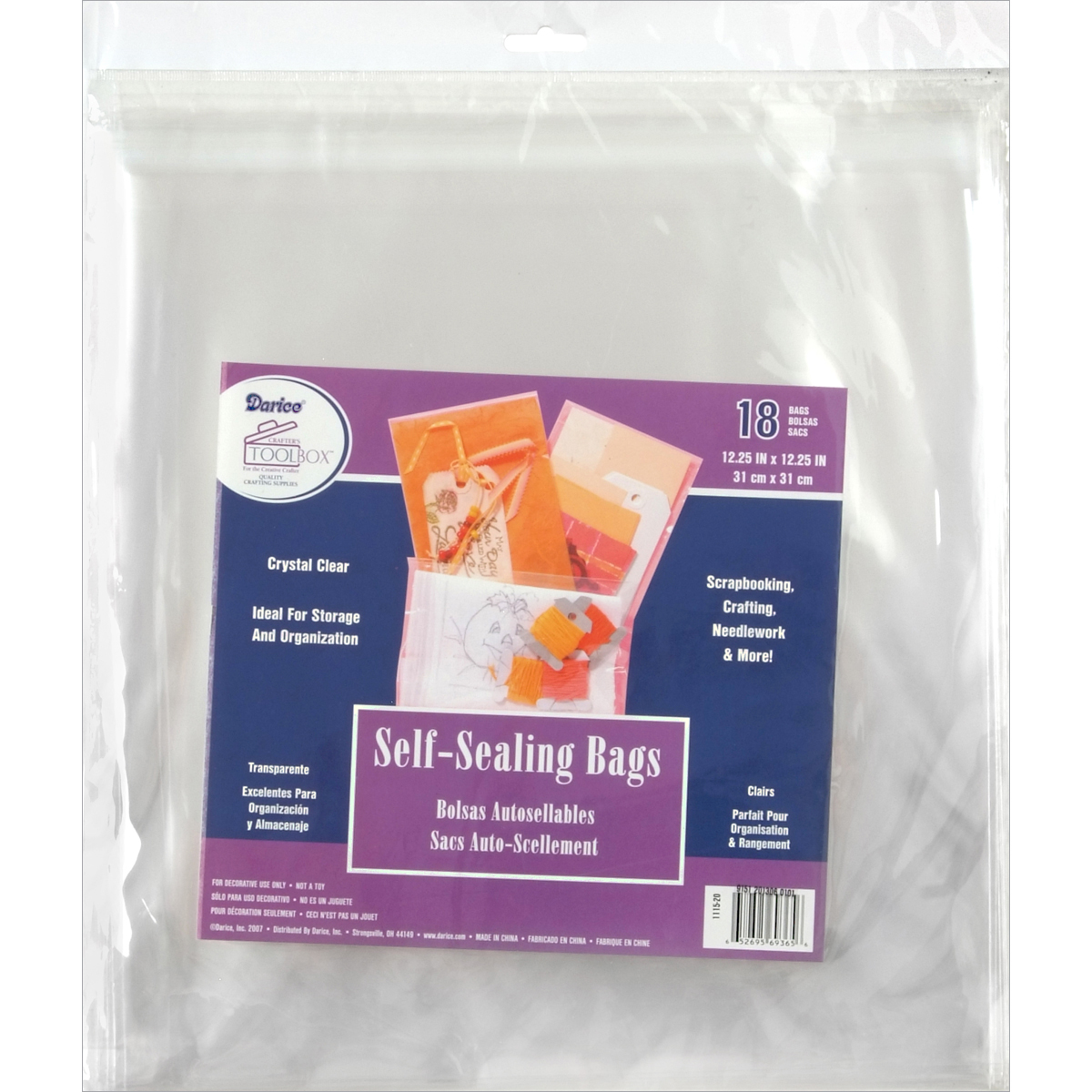Self-Sealing Crystal Clear Bags