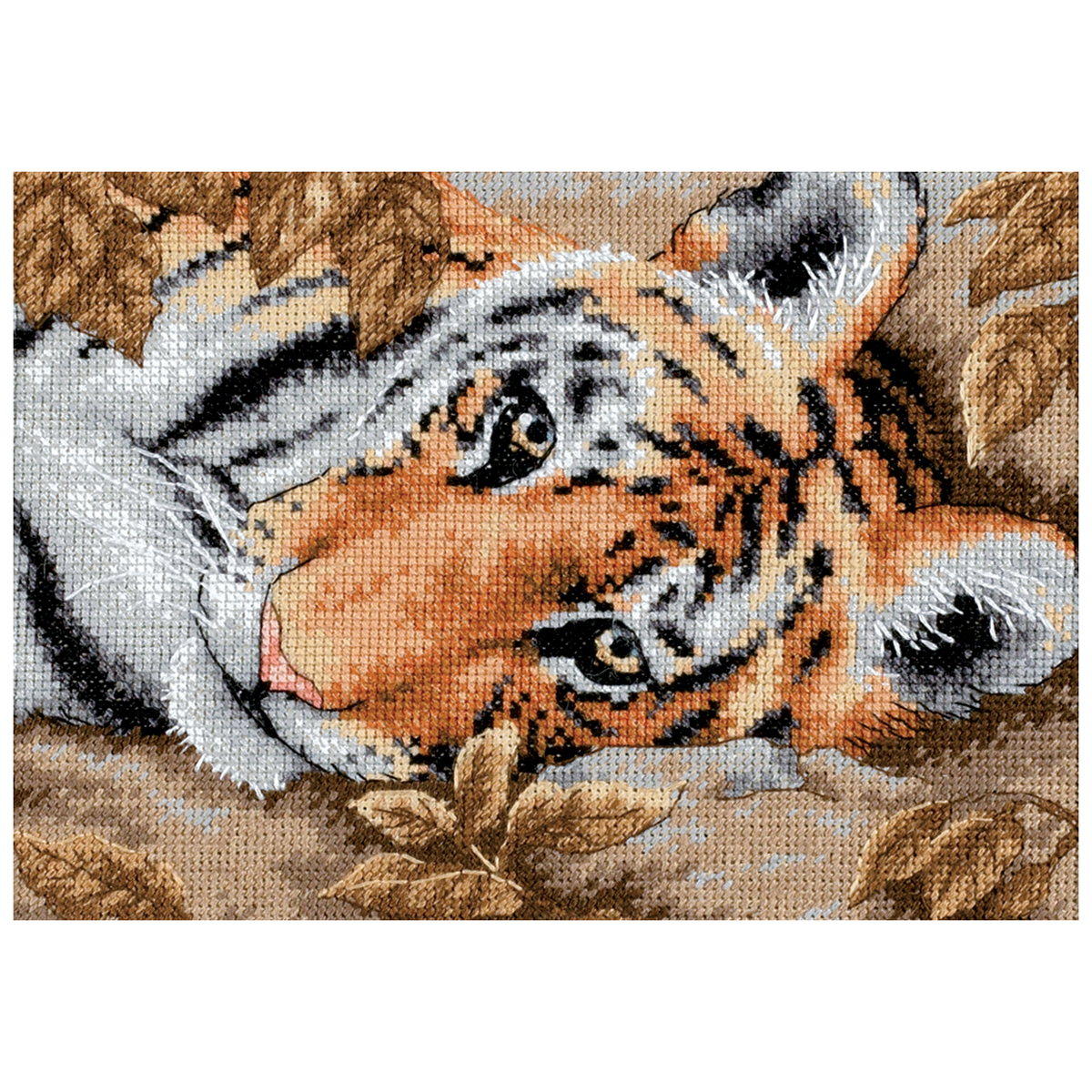Dimensions Gold Petite Counted Cross Stitch Kit 7X5-Beguiling Tiger (18 Count)