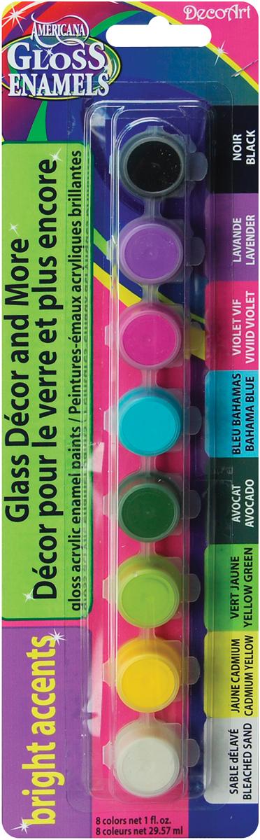 Americana Gloss Enamels Paint Pots 8/Pkg-Bright Accents