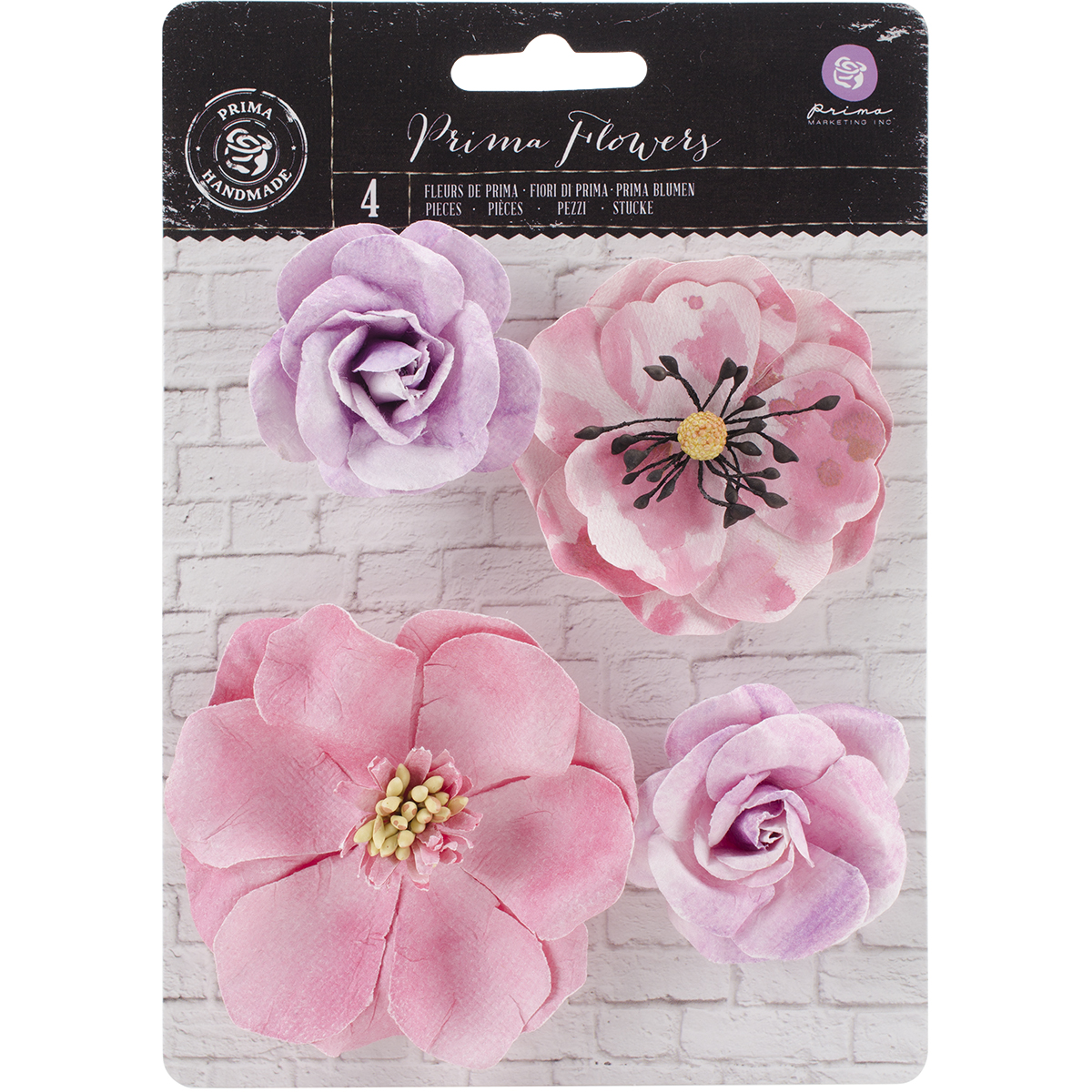 Prima Marketing Watercolor Mulberry Paper Flowers 4/Pkg-Amethyst, 2 - 3