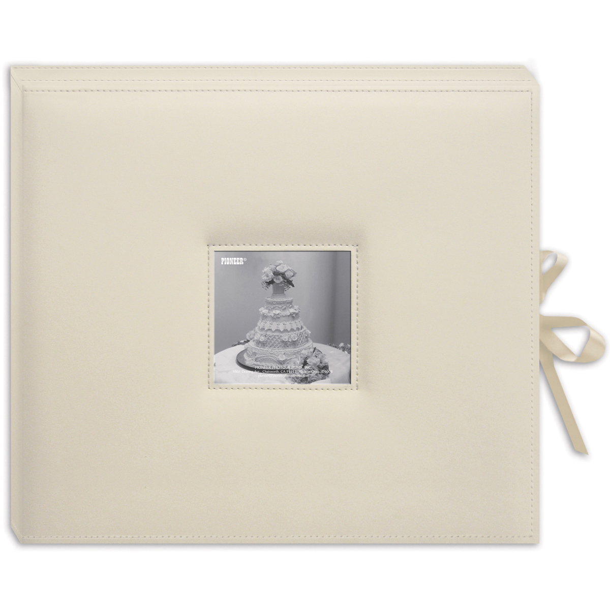 Pioneer 3-Ring Sewn Leatherette Album Box 13X14.5-Ivory