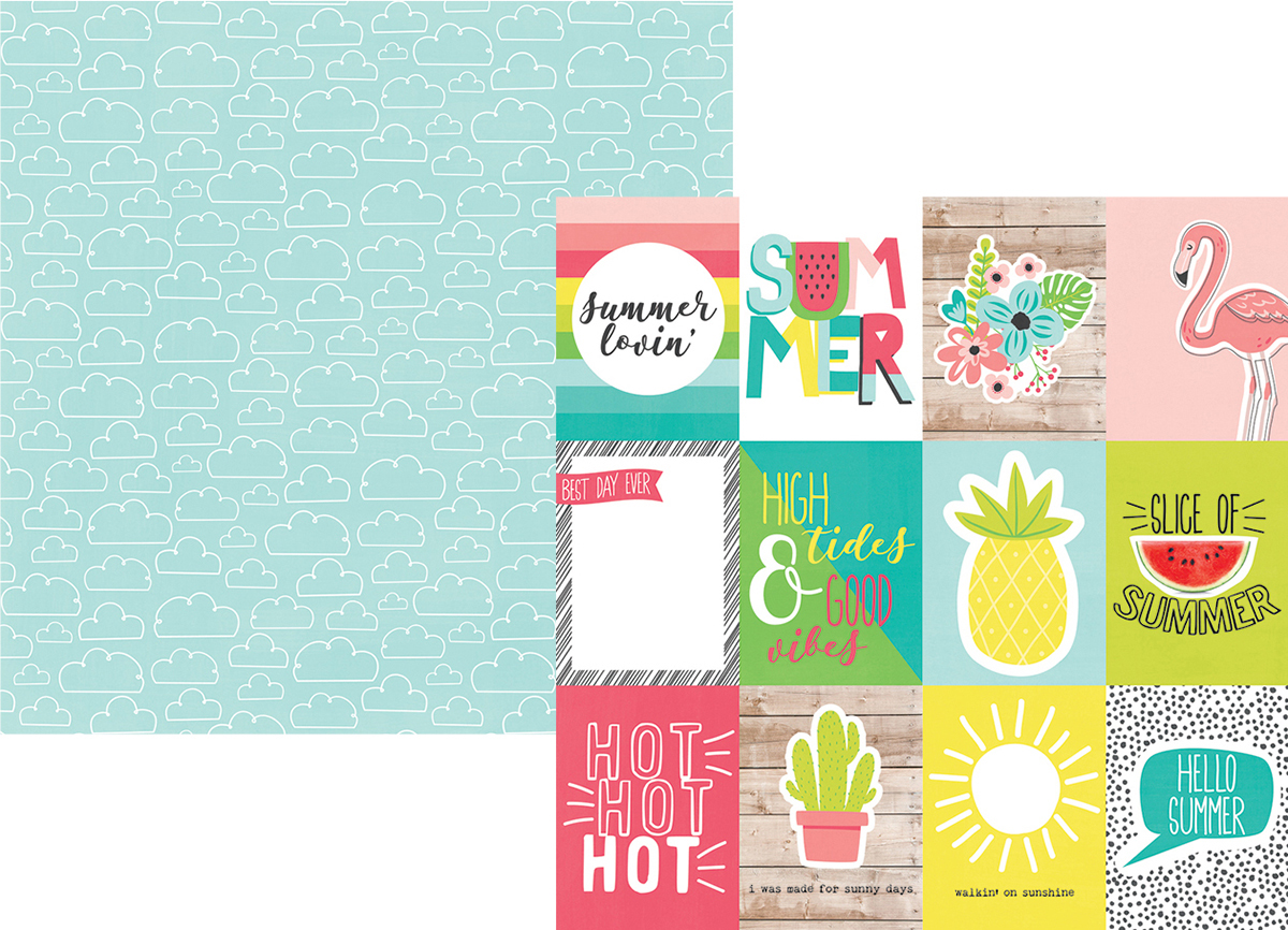 Hello Summer Double-Sided Cardstock 12X12-3X4 Elements