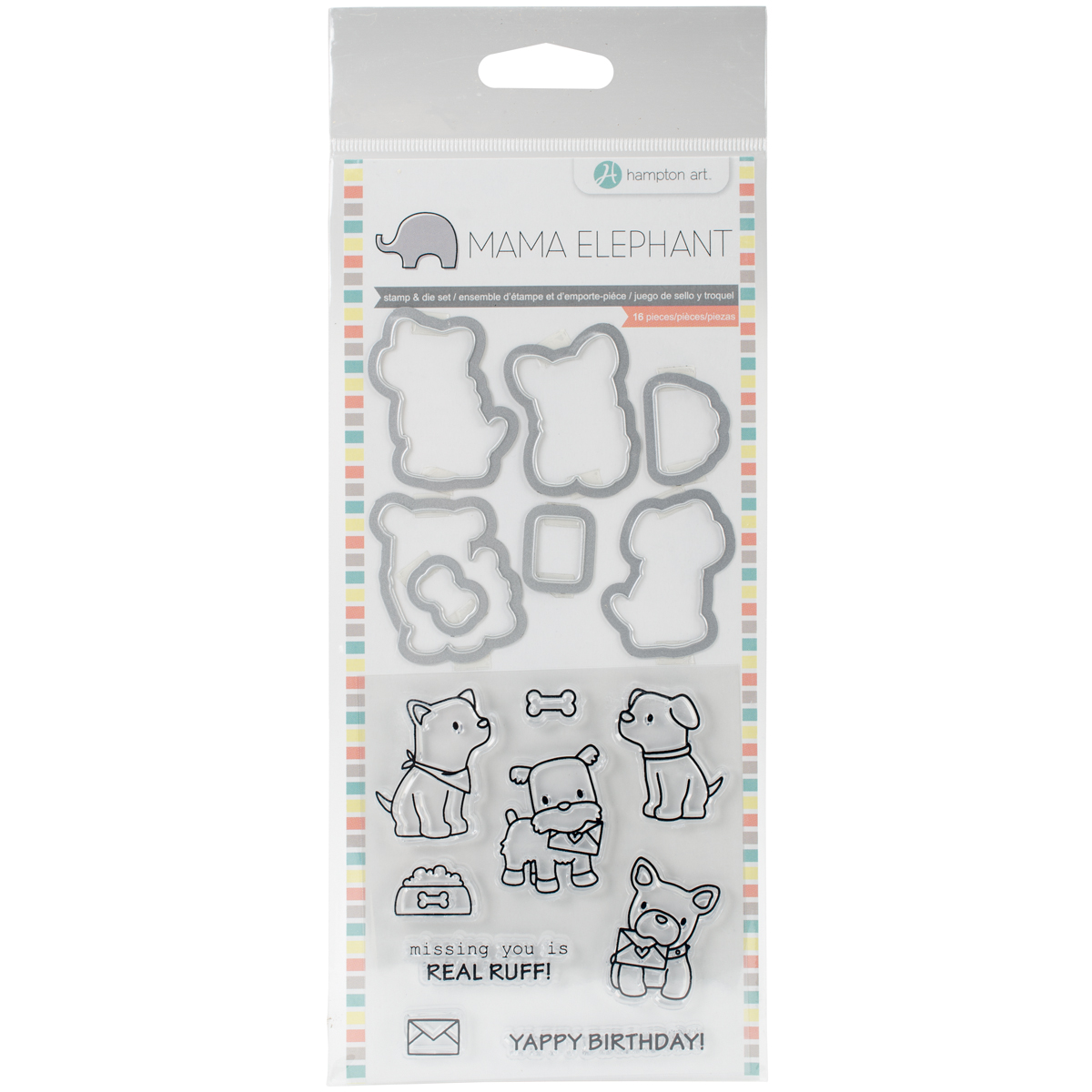 Mama Elephant Stamp & Die Set 4X8-Puppy Play