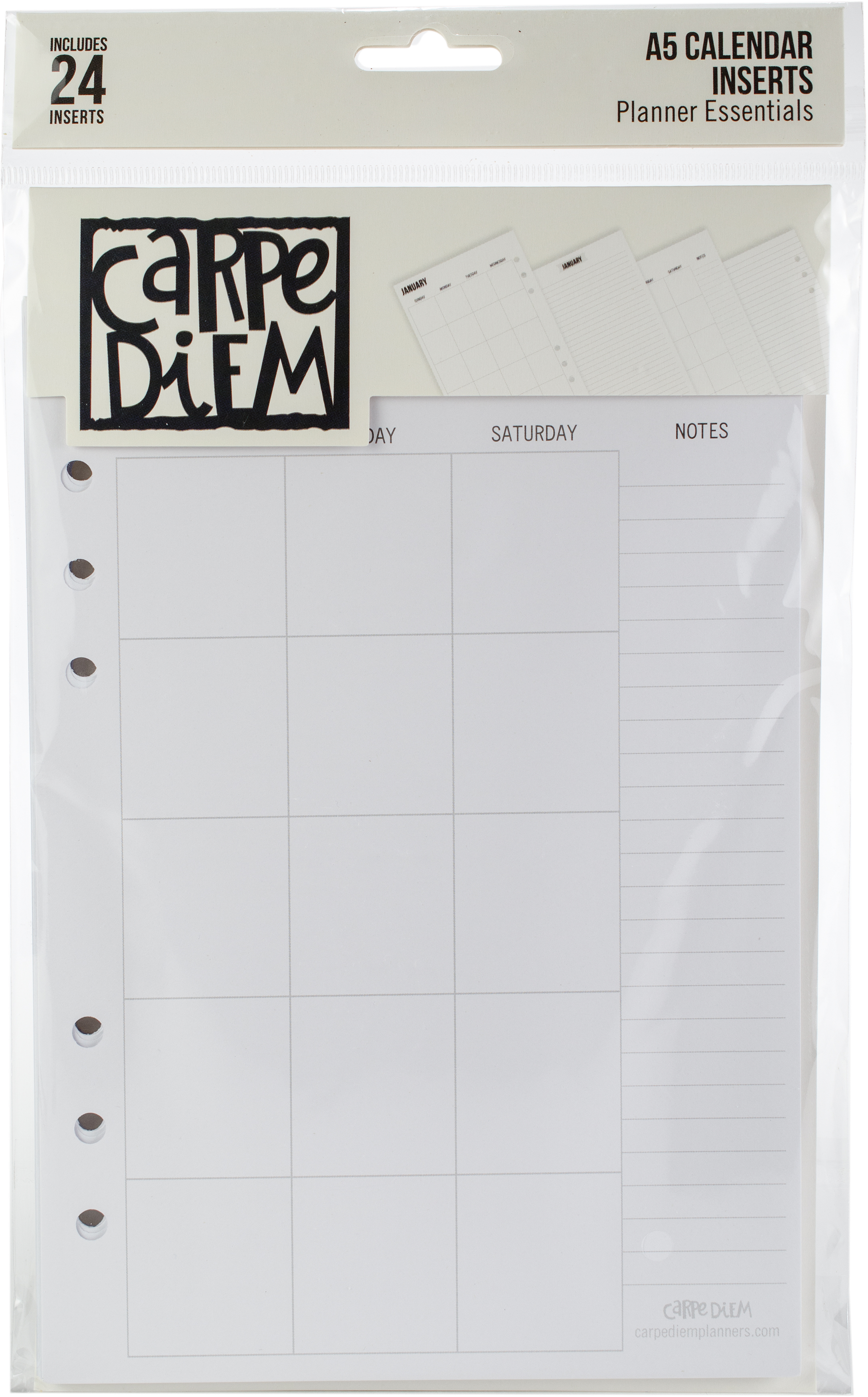 Carpe Diem A5 Planner Double-Sided Inserts 24/Pkg-Calendar-Undated