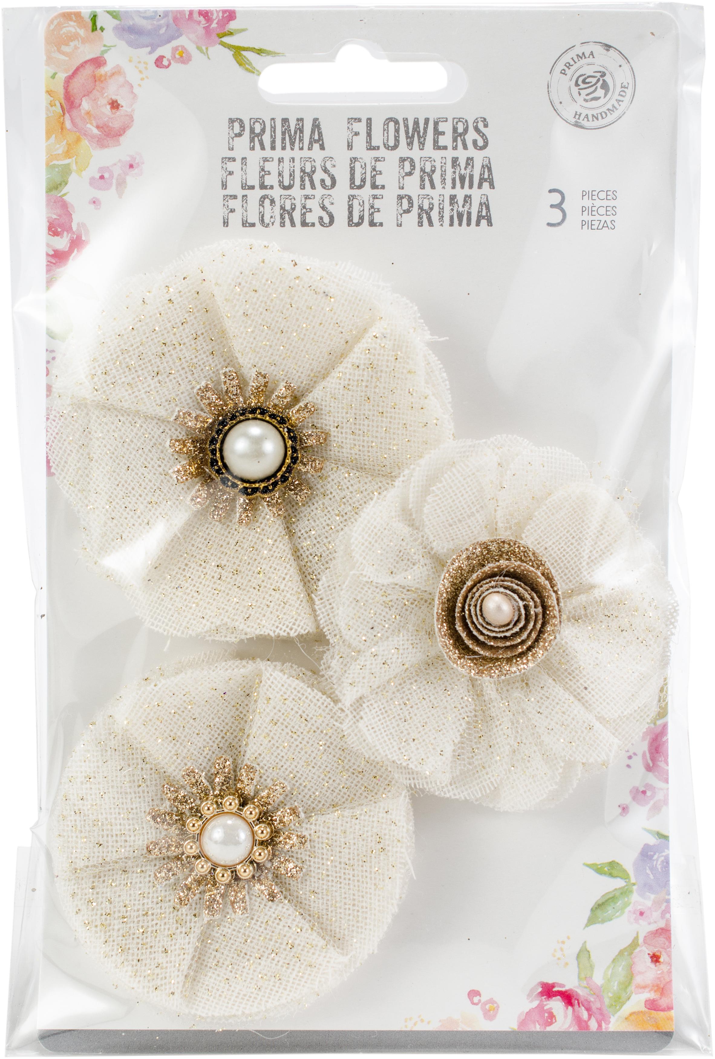 Prima Marketing Love Story Fabric Flowers 3Pkg-Tulle Antoinette, 2.5