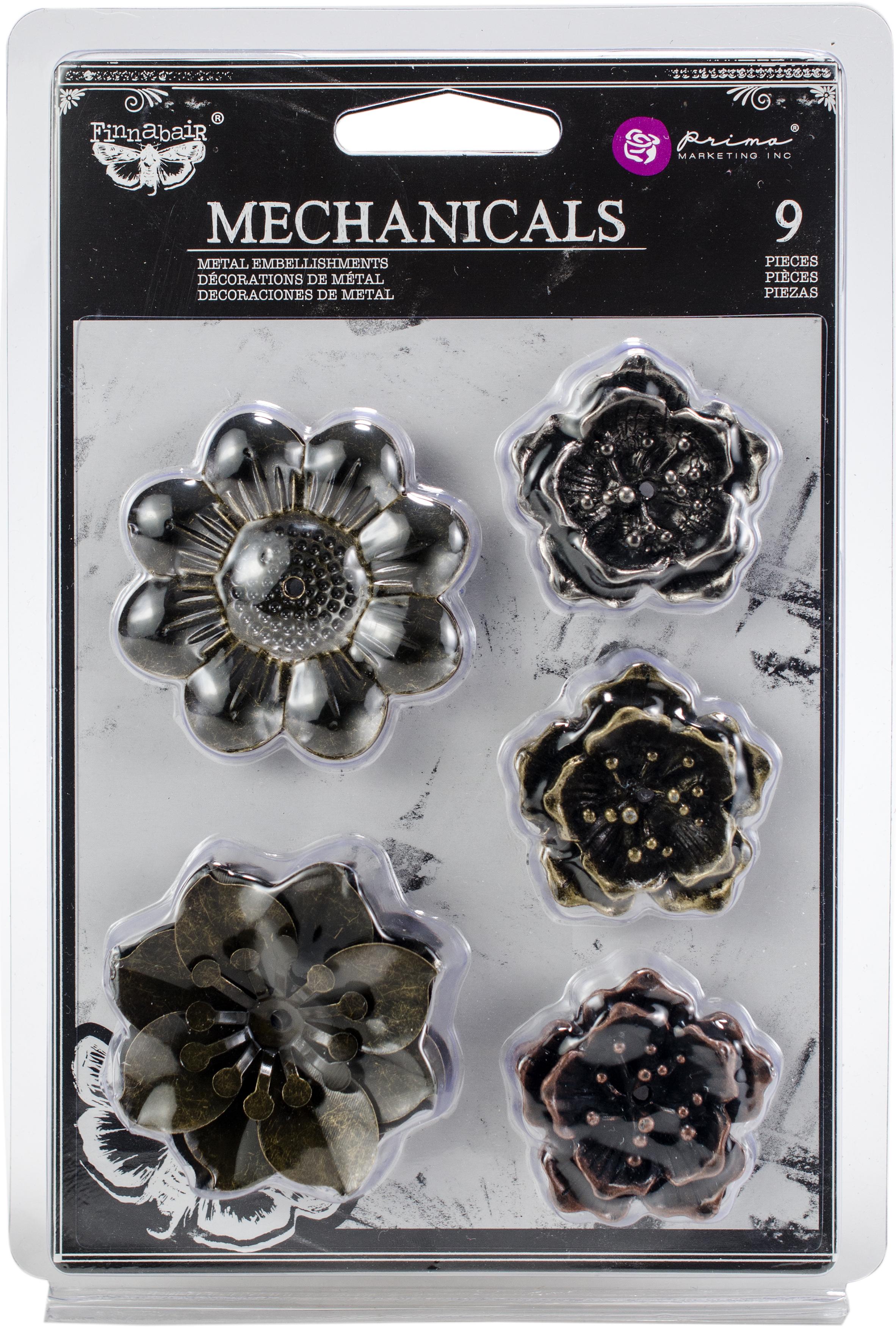 Finnabair Mechanicals Metal Embellishments-Flowers, 1.5 - 2 9/Pkg