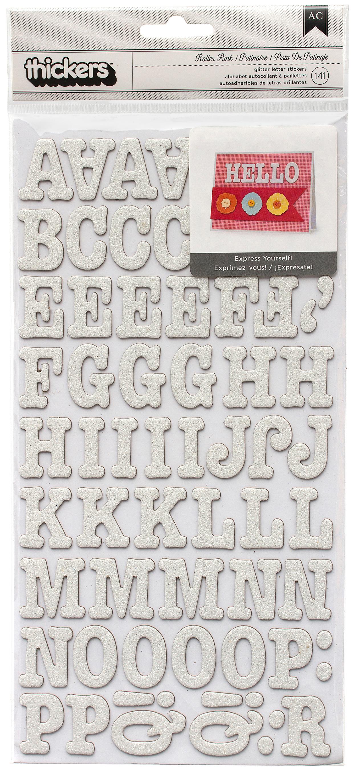 American Crafts Chipboard Alphabet Stickers-Roller Rink-White Glitter, 141/Pkg