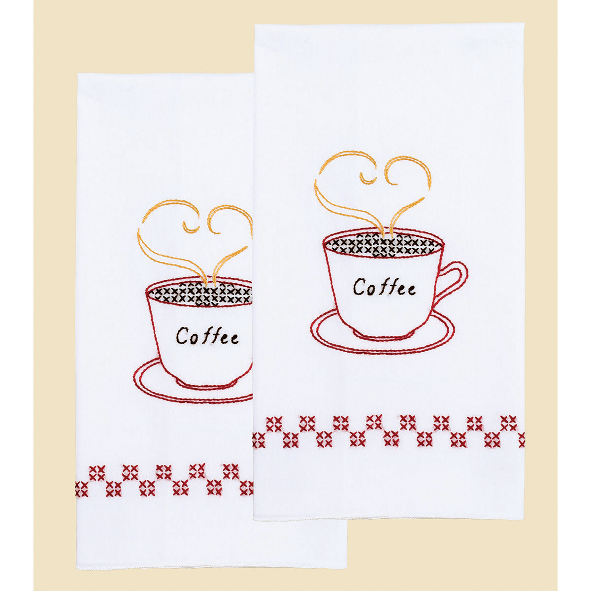 Stamped Embroidery Hand Towels - Coffee