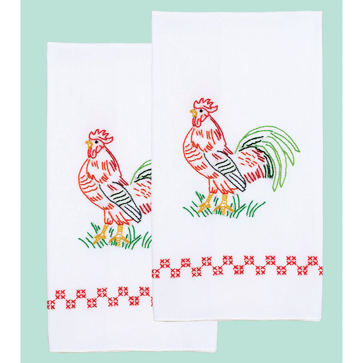 Stamped Embroidery Hand Towels - Rooster