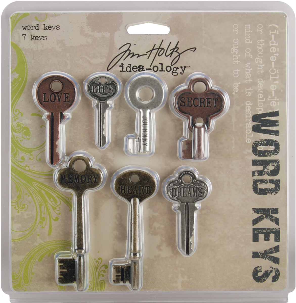 Idea-Ology Metal Word Keys 1.5 To 3 7/Pkg-Antique Nickel, Brass & Copper