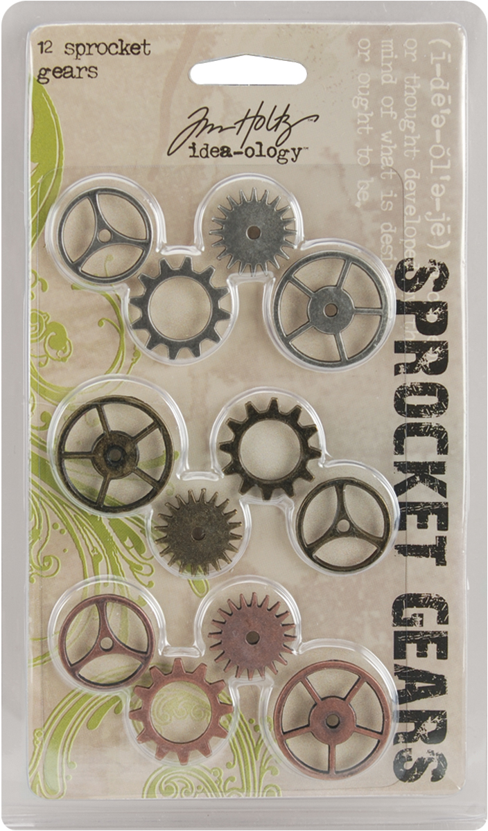 Idea-Ology Metal Sprocket Gears .75 To 1 12/Pkg-Antique Nickel, Brass & Copper